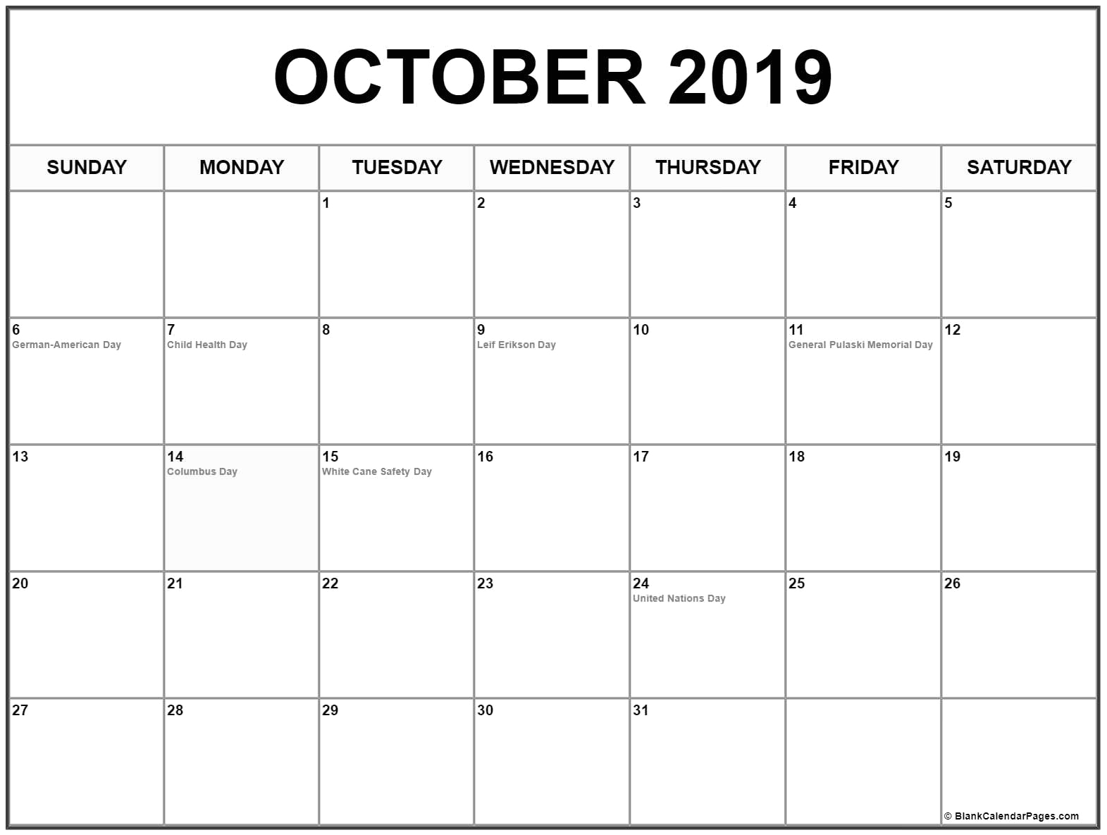 Calendar Blank October
