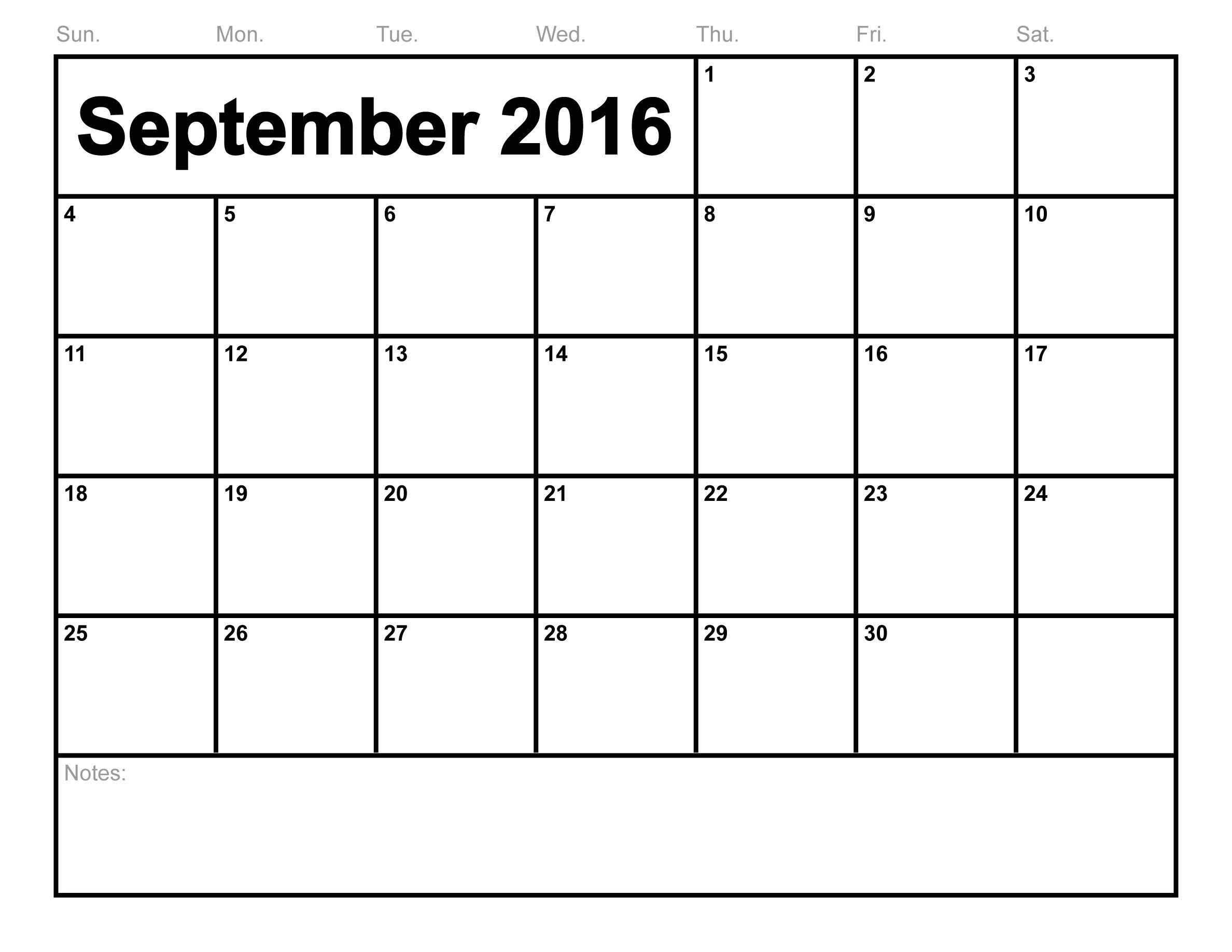 Calendar Blank September