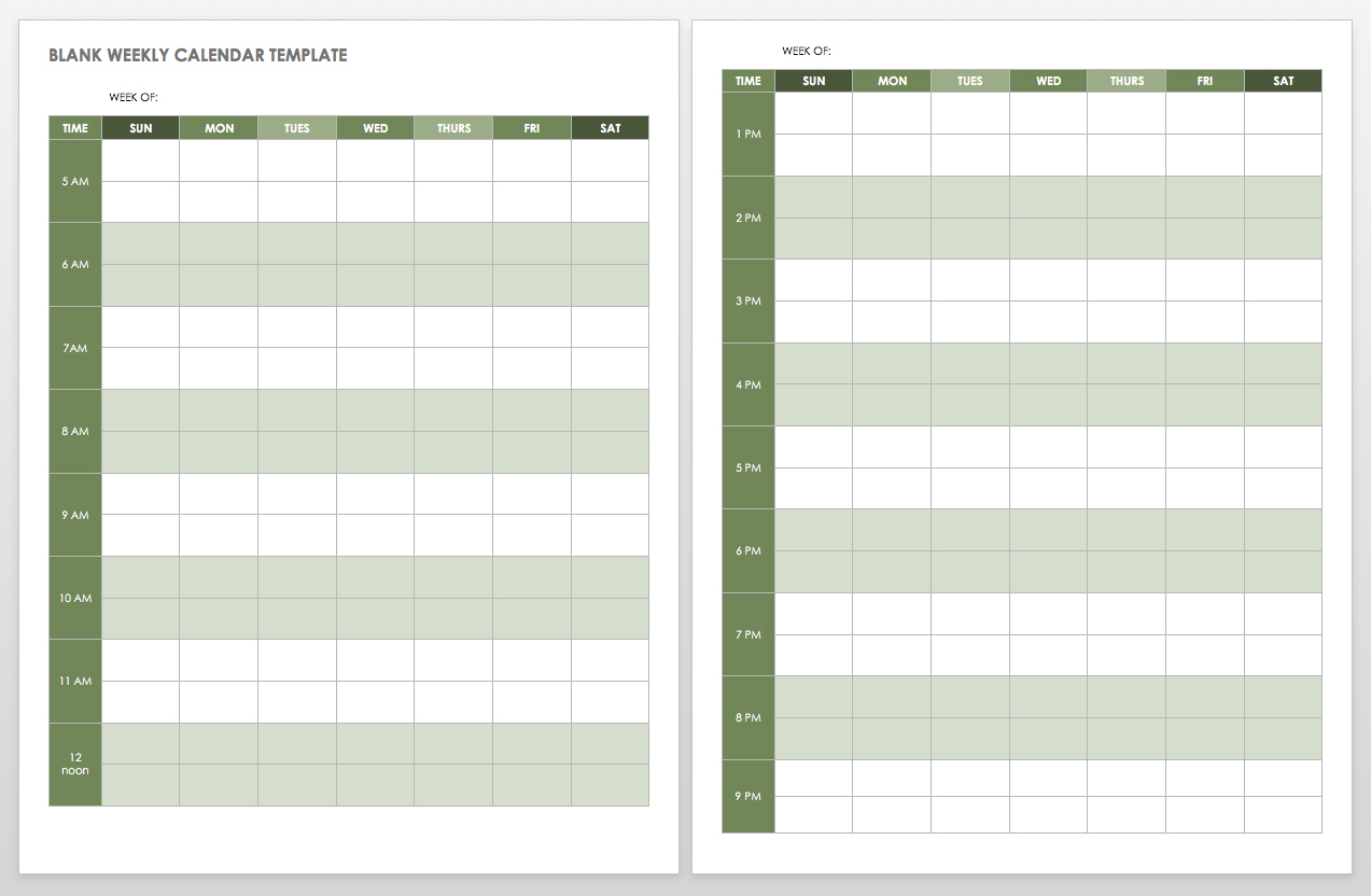 Calendar Blank Weekly
