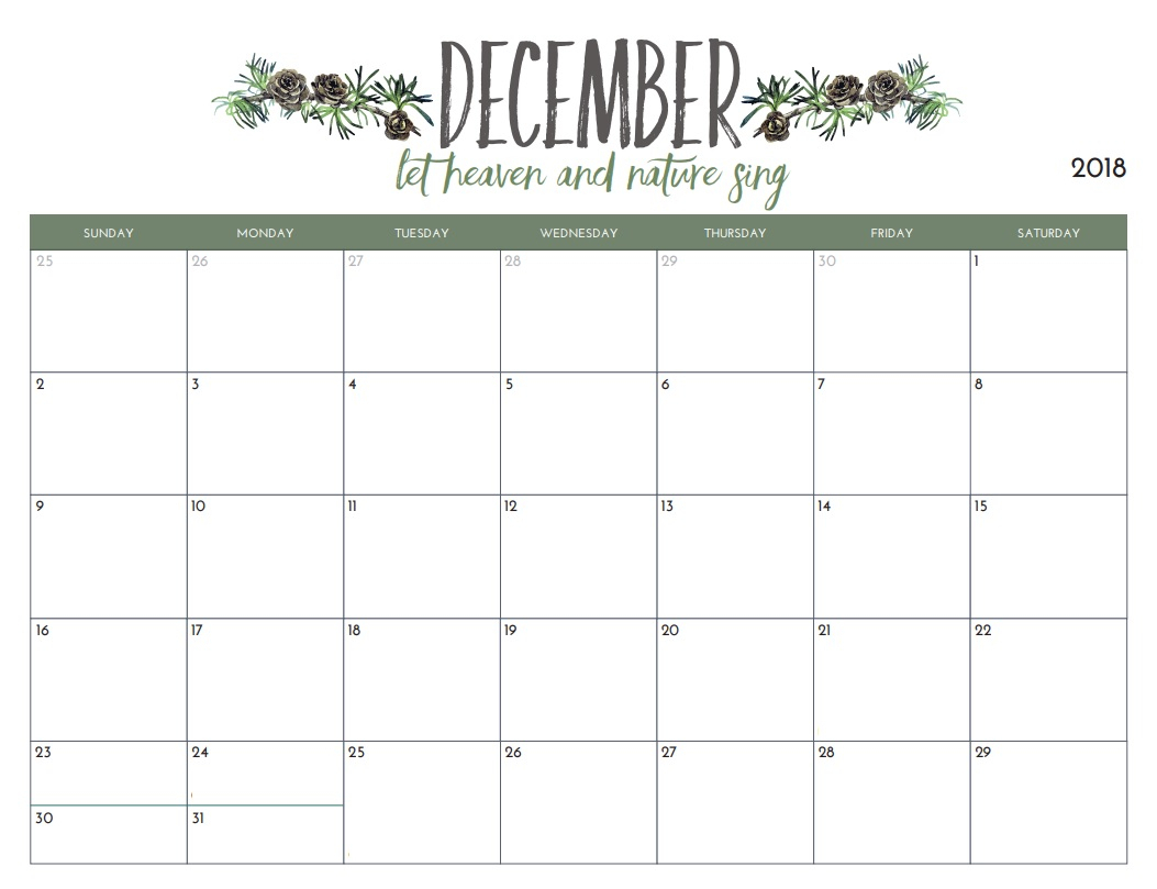 Calendar December 2018 In Pdf, Word, Excel Printable Template