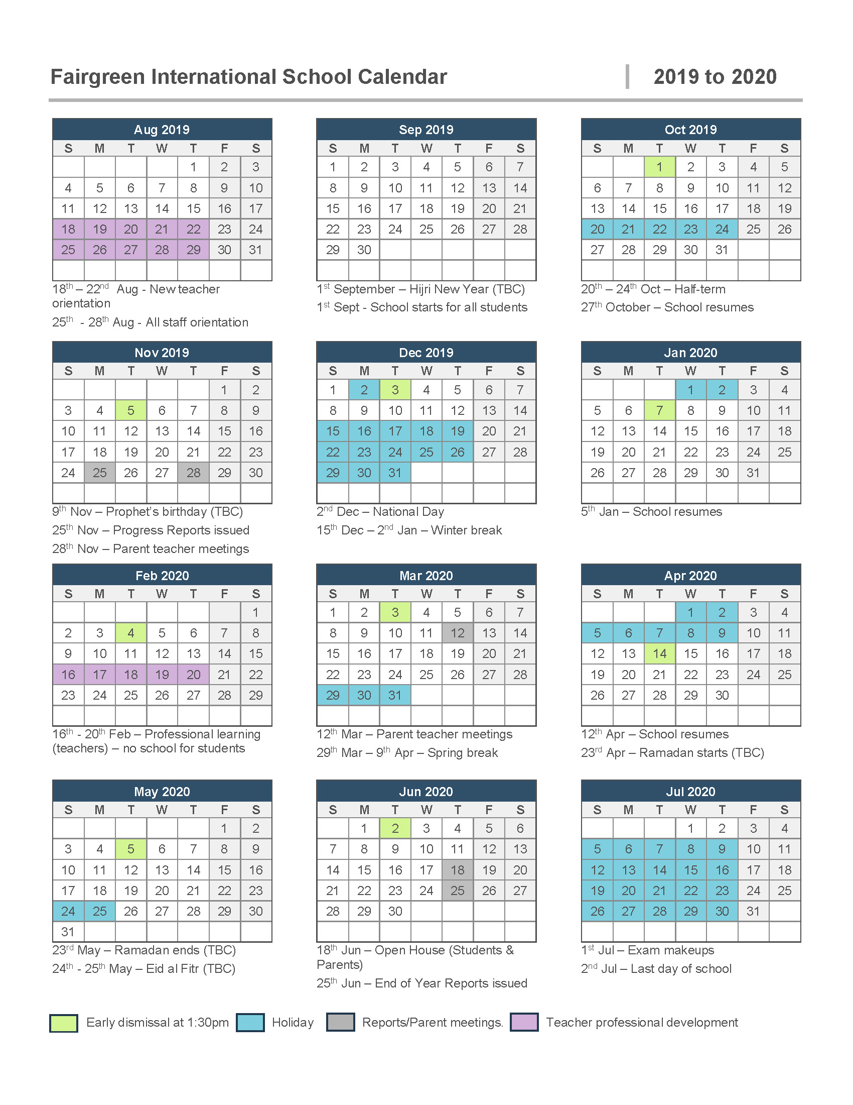 Calendar - Fairgreen International School In Dubai