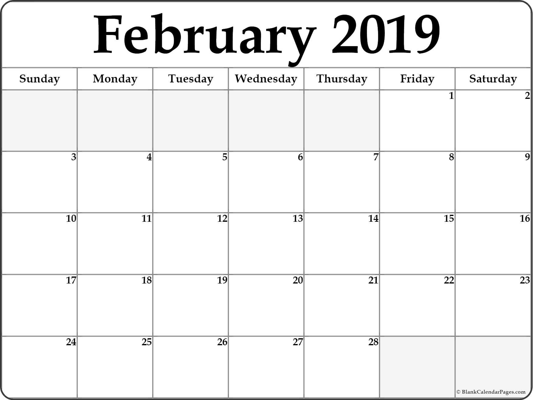 Calendar February 2019 Pdf - Free Printable Calendar, Templates And