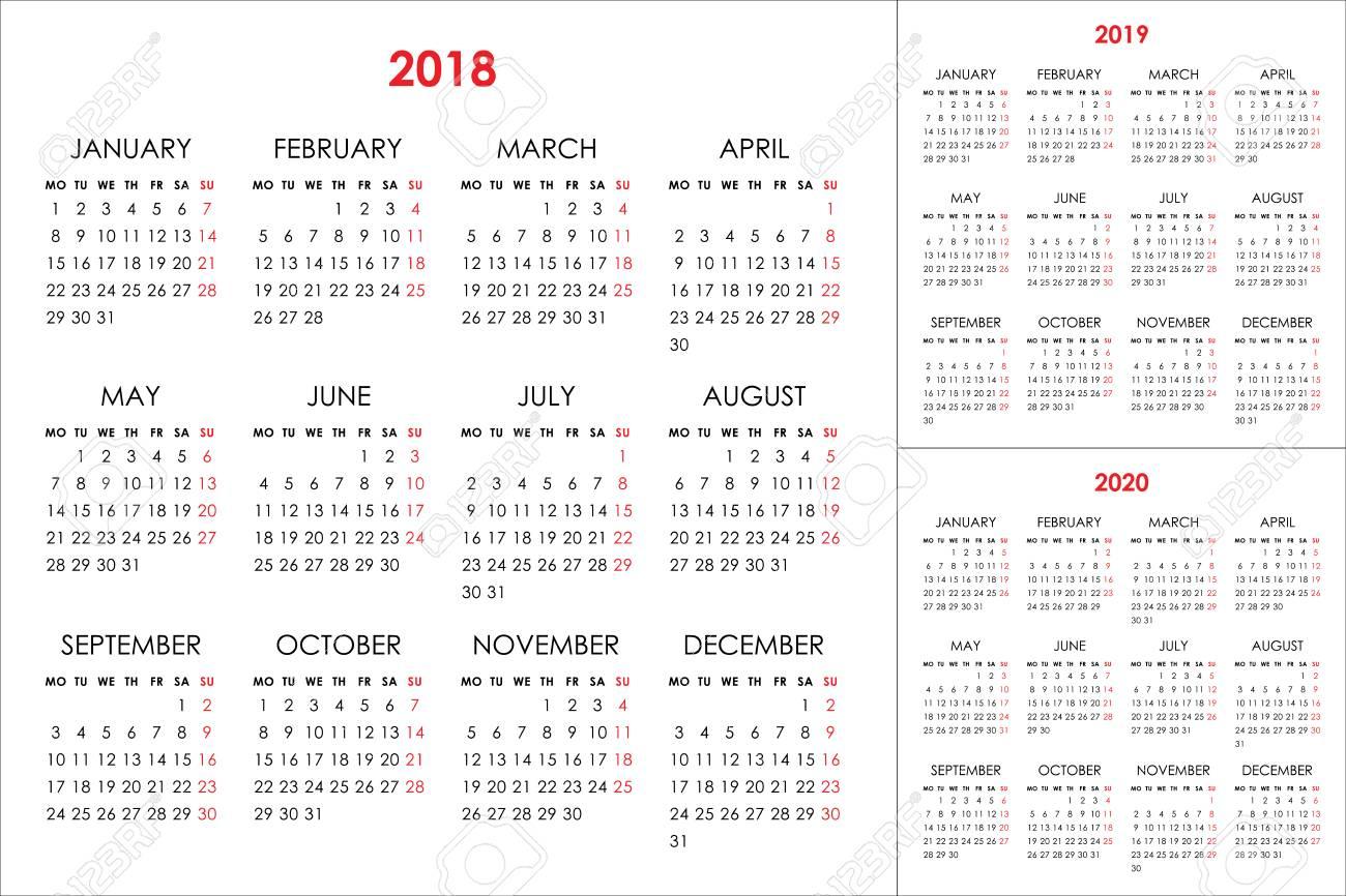 Calendar For 2018, 2019, 2020 Years Клипарты, Векторы, И Набор