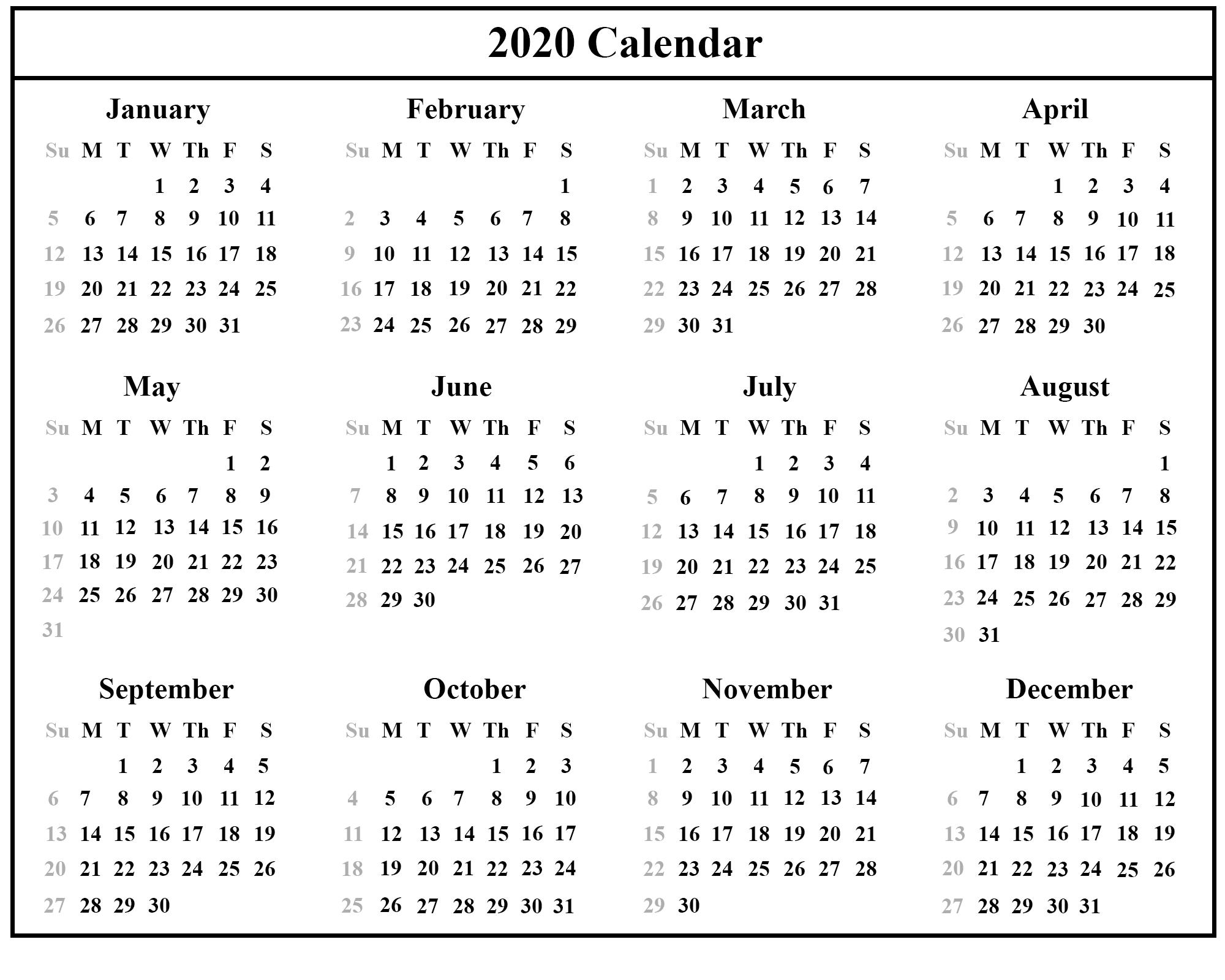 Calendar For 2020