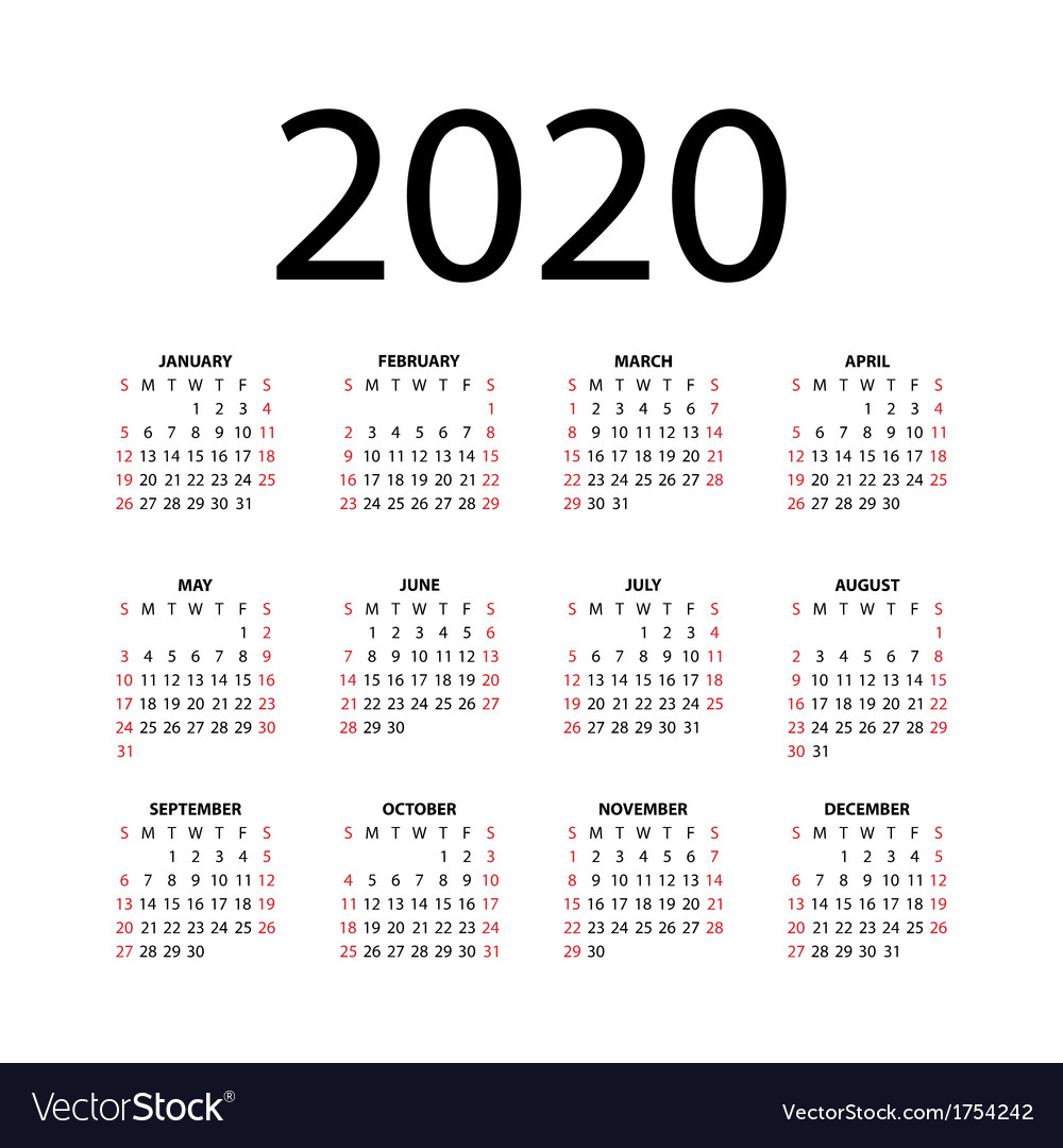 Calendar For 2020 Royalty Free Vector Image - Vectorstock