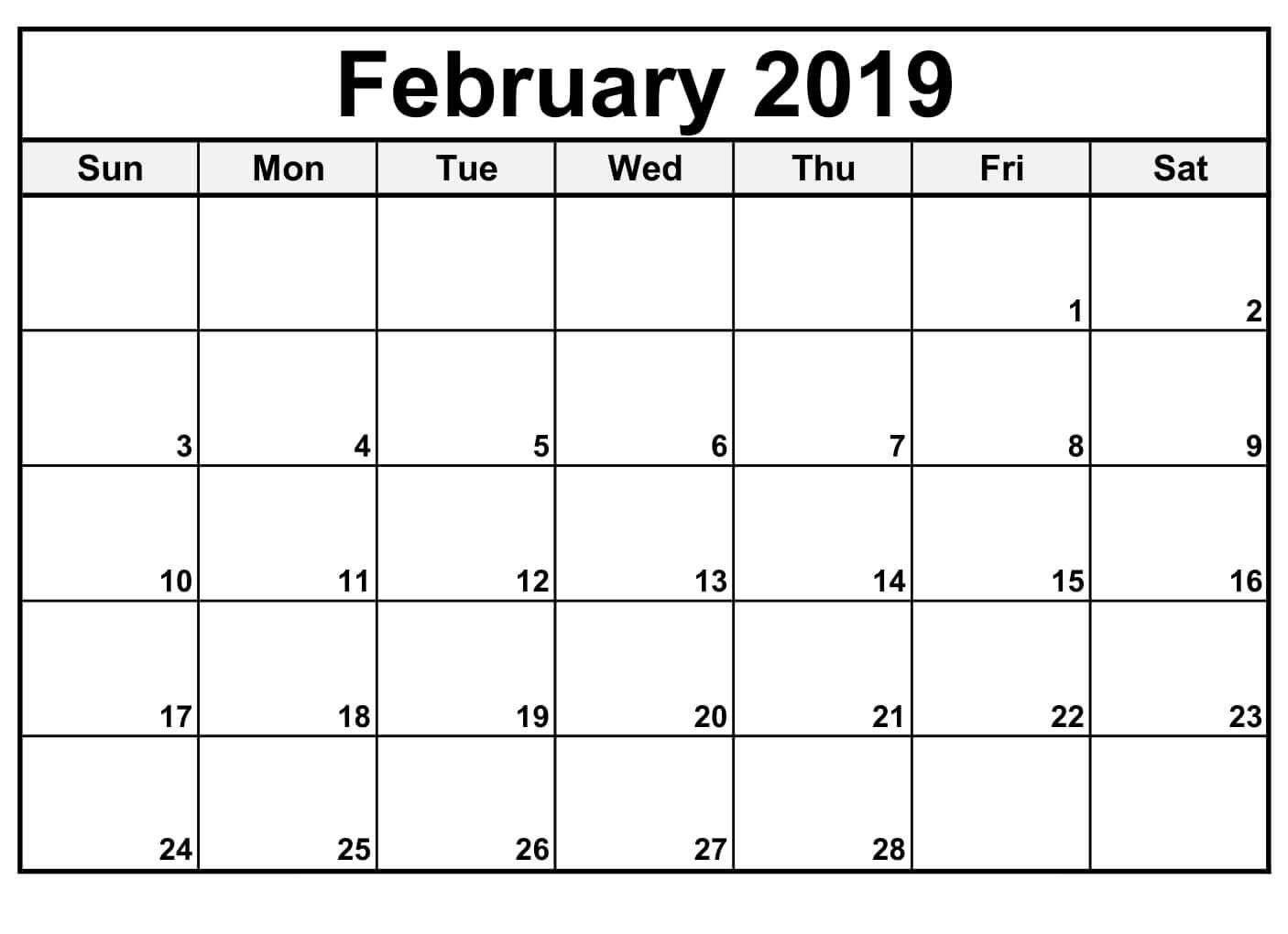 Calendar For February 2019 - Free Printable Calendar, Templates And