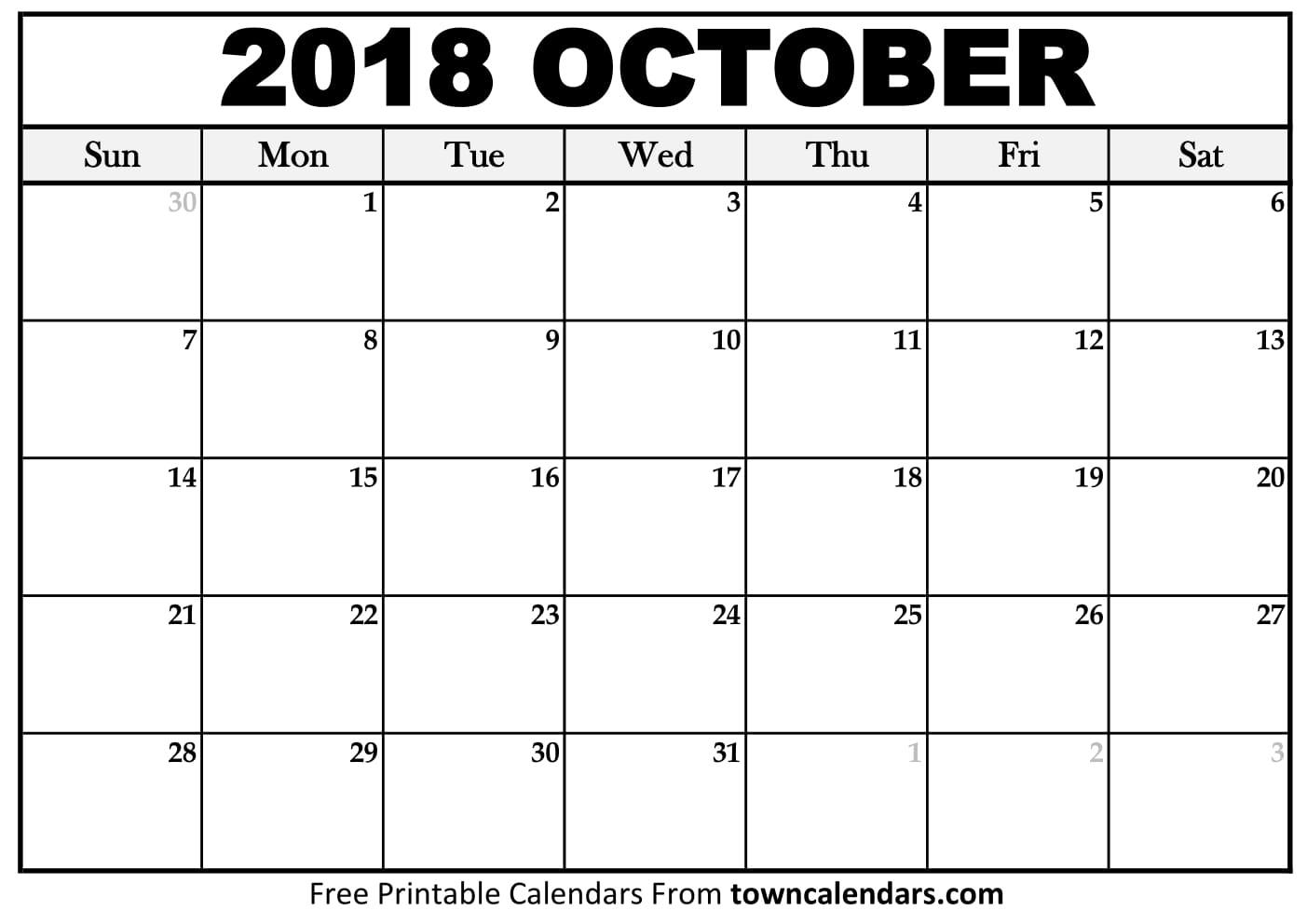 Calendar For October 2018 - Free August 2019 Calendar Printable