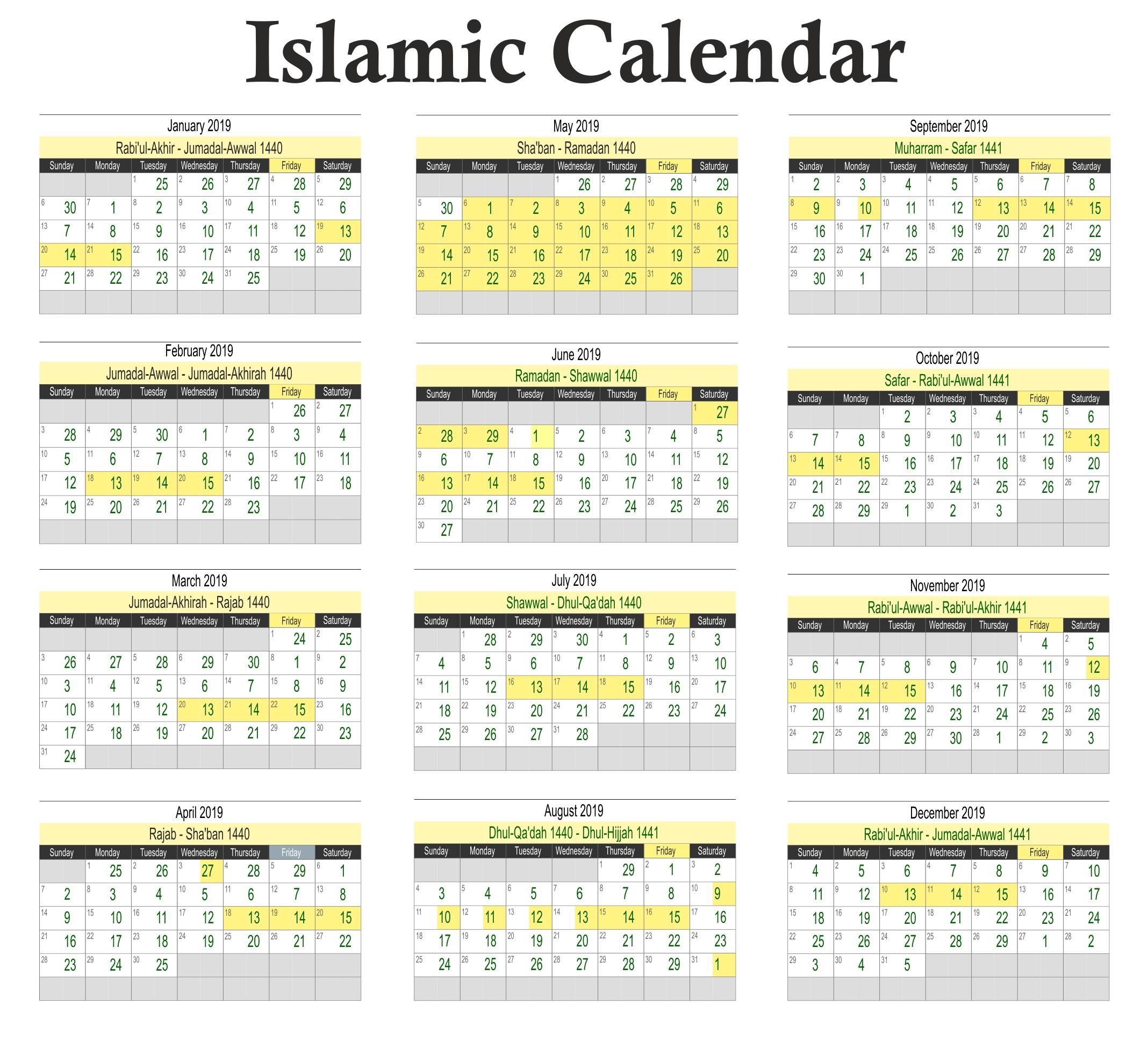Calendar Muslim Holidays 2019 • Printable Blank Calendar Template