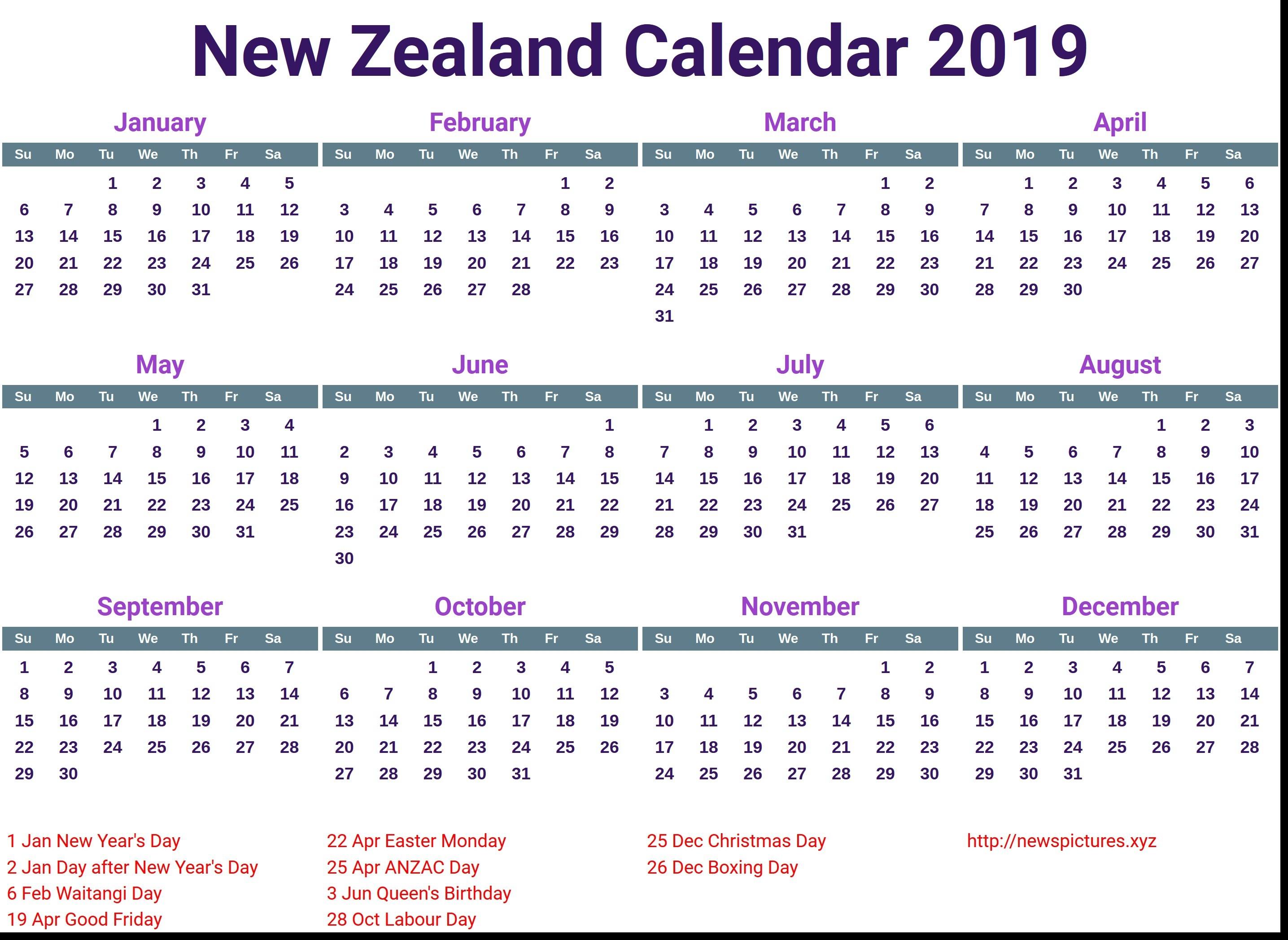 Calendar Nz Holidays 2019 • Printable Blank Calendar Template