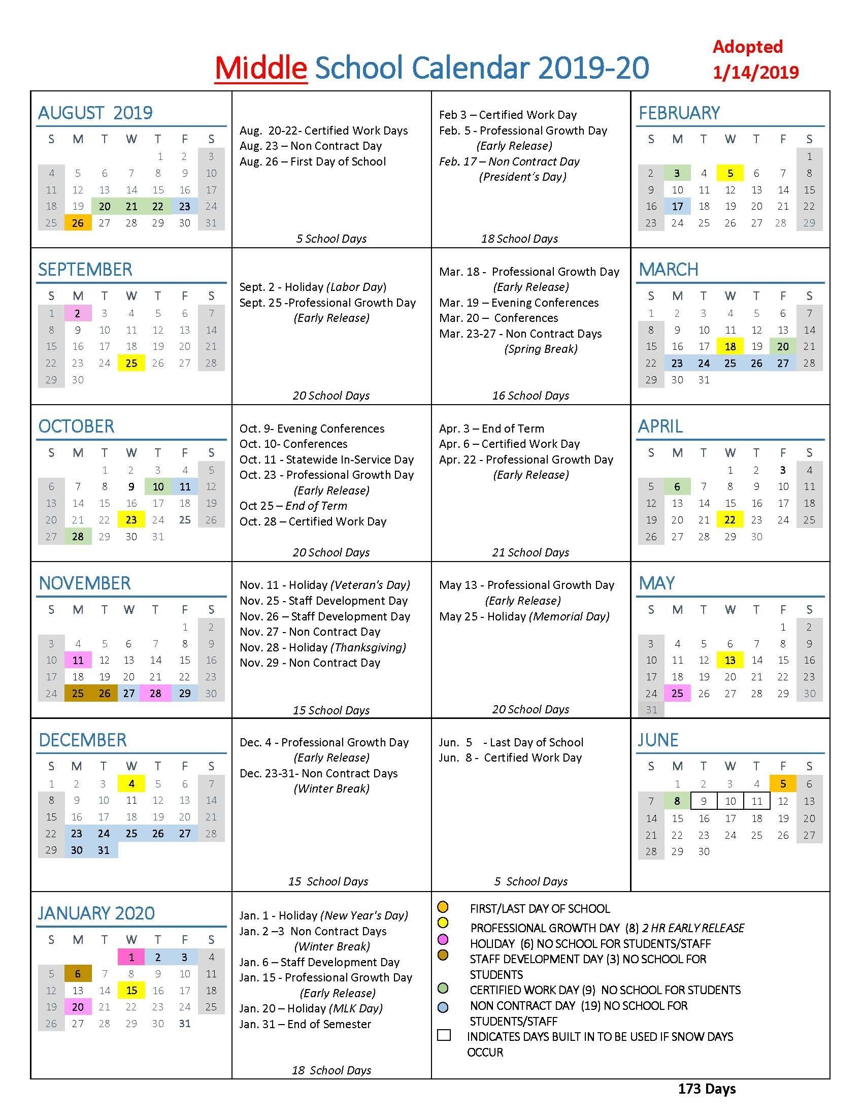 Calendar Of School Events 2020