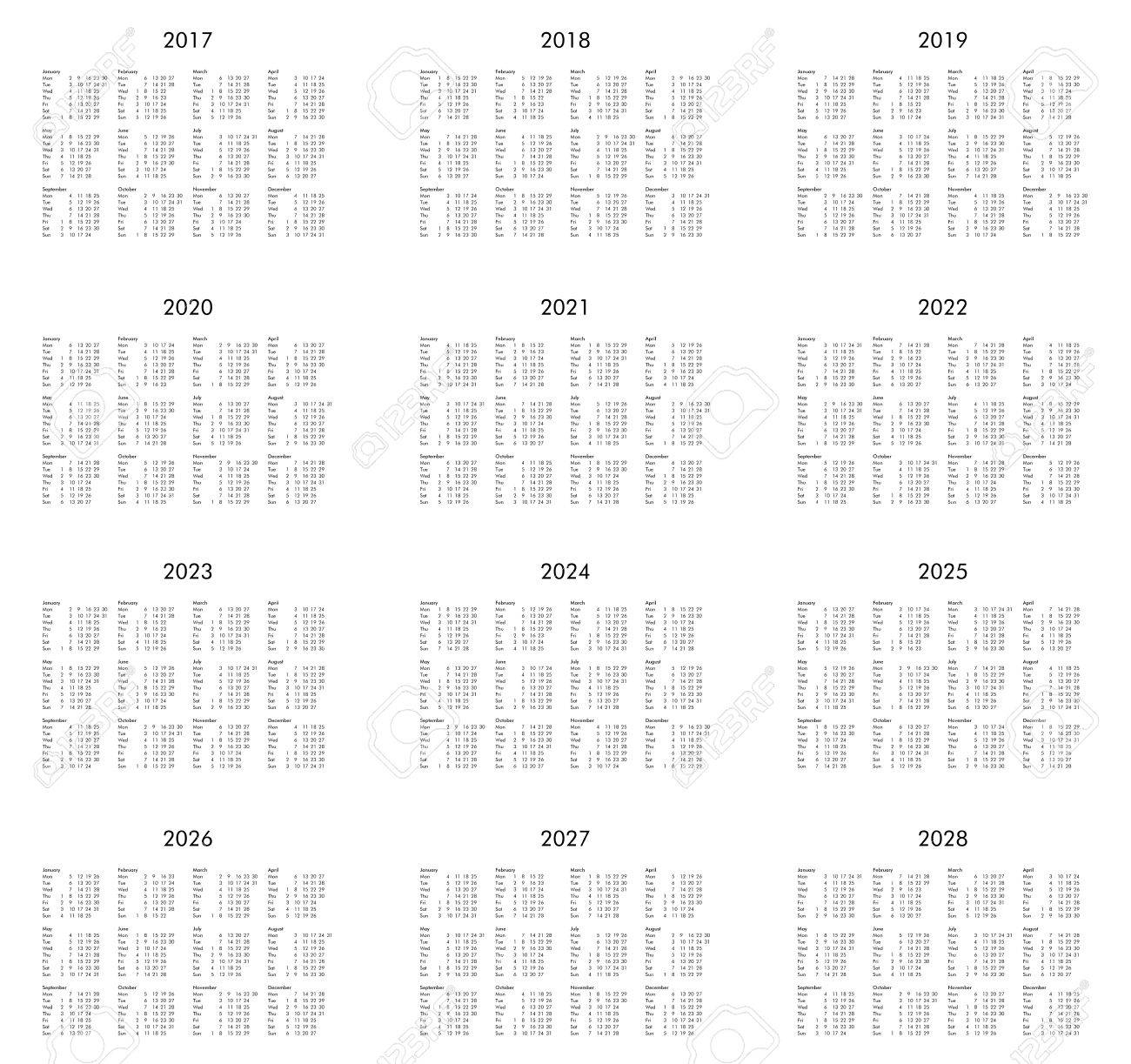 Calendar Of Years 2017, 2018, 2019, 2020, 2021, 2022, 2023, 2024