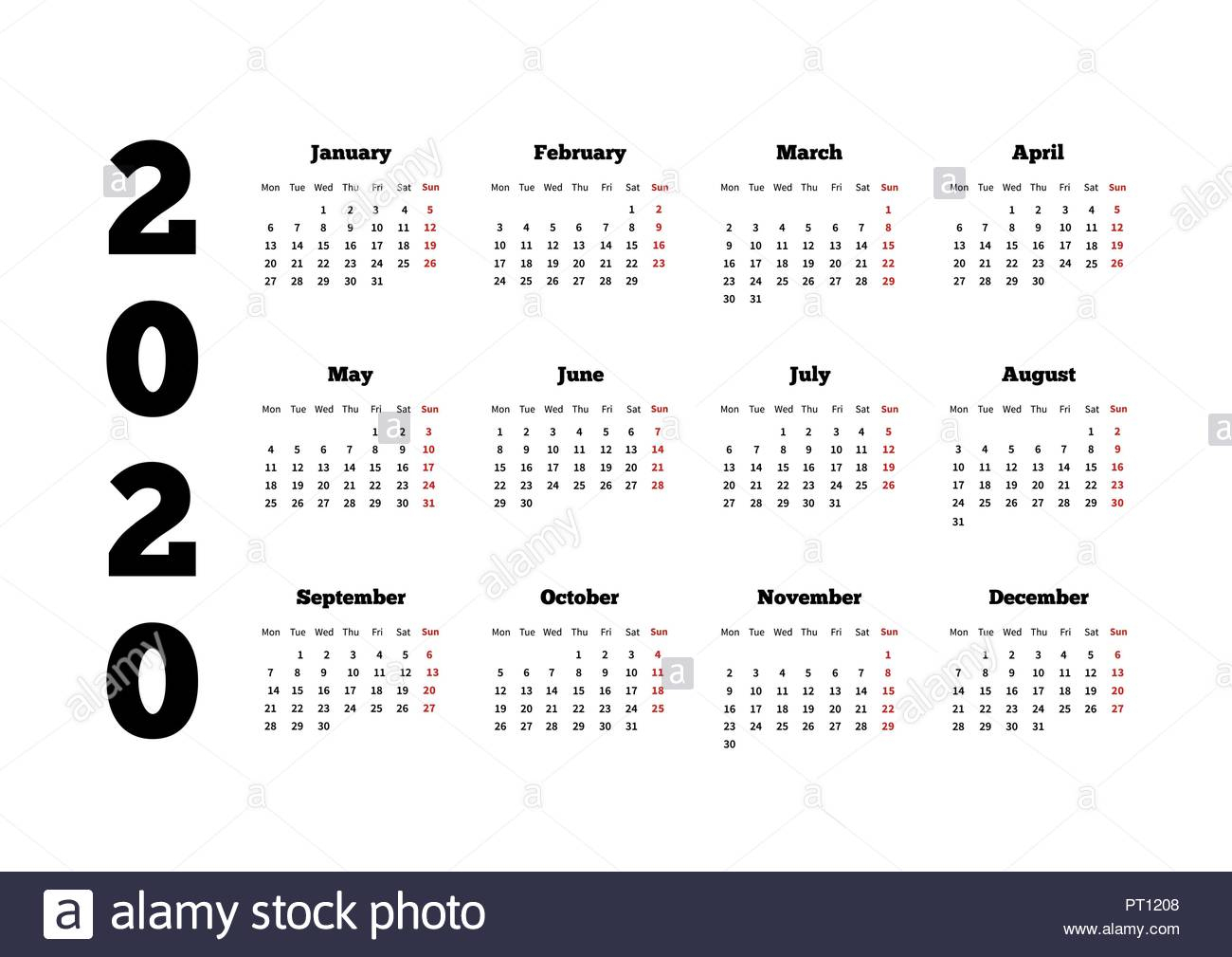 Calendar On 2020 Year With Week Starting From Monday, A4 Sheet Stock