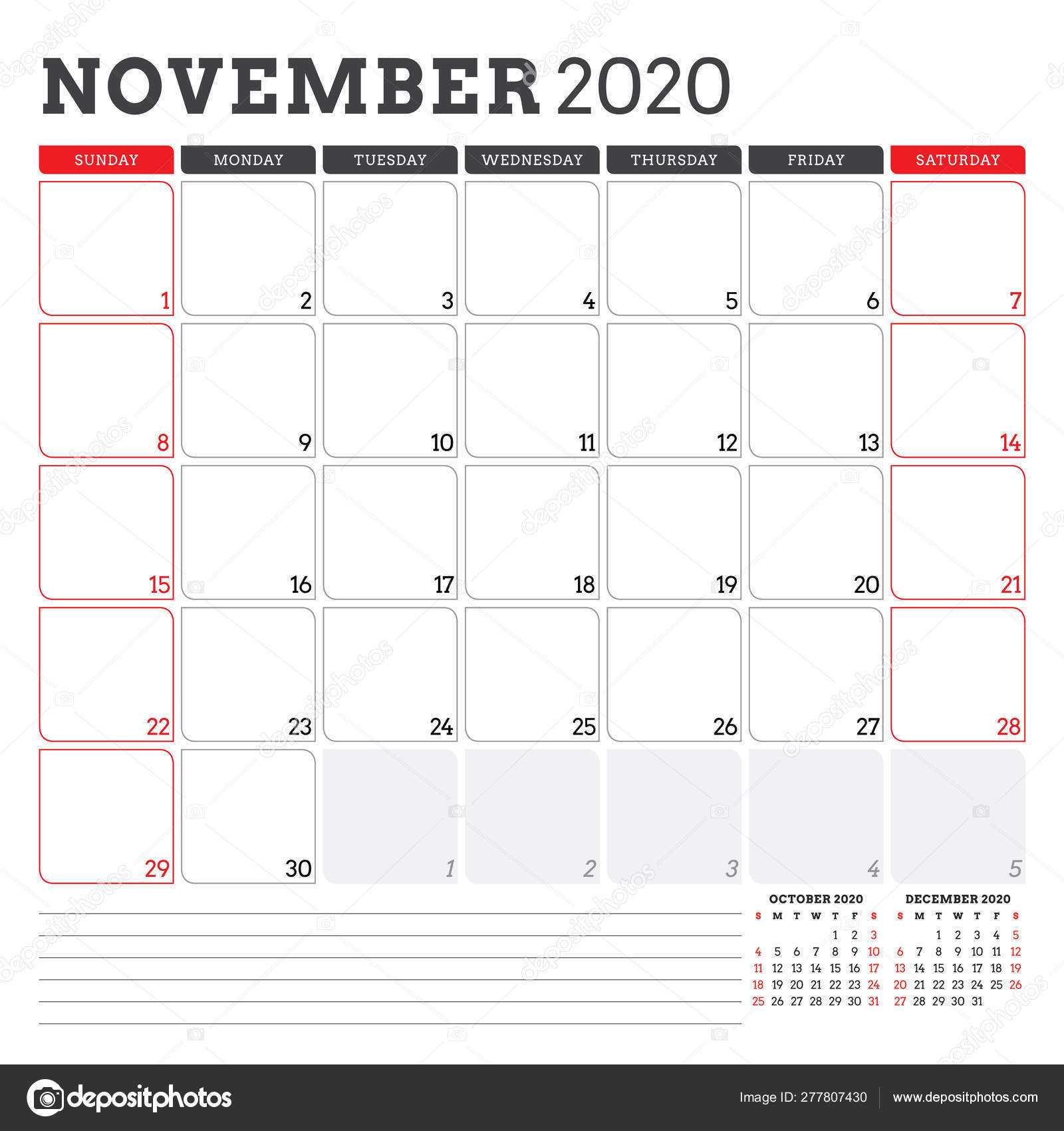 Calendar Planner For November 2020. Week Starts On Sunday. Printable
