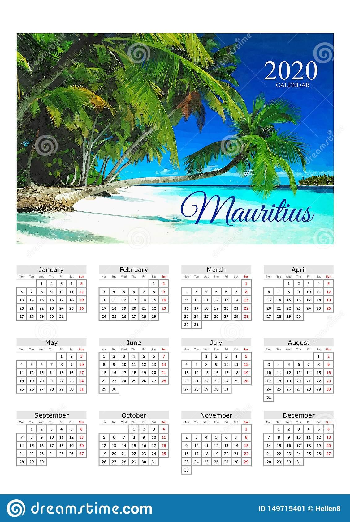 Calendar Poster 2020 Mauritius Paradise Stock Image - Image Of