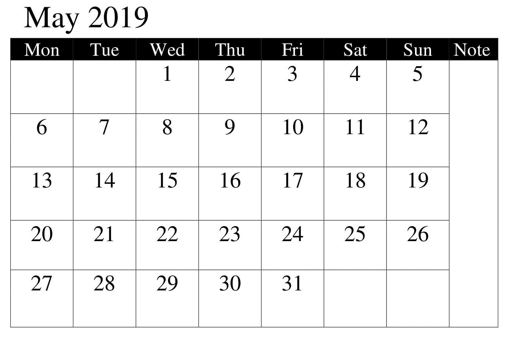 Calendar Printable May 2019 Professional