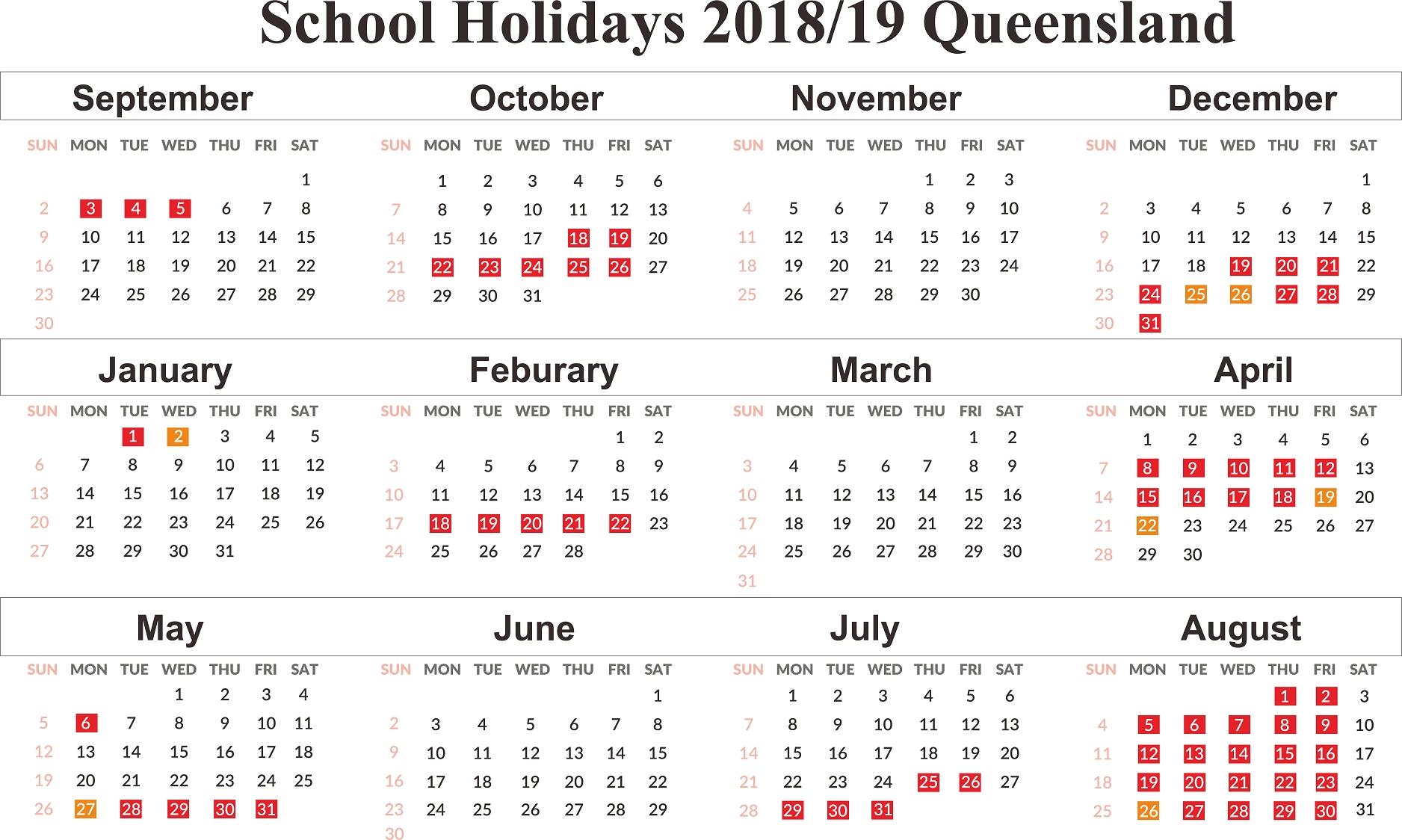 Calendar Qld School Holidays 2019