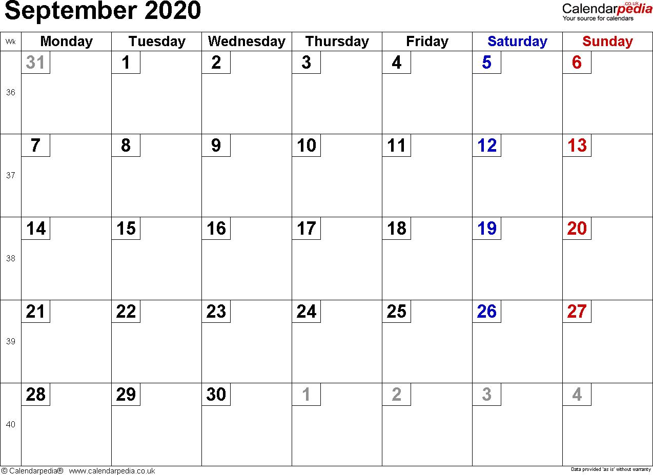 Calendar September 2020 Uk, Bank Holidays, Excel/pdf/word Templates