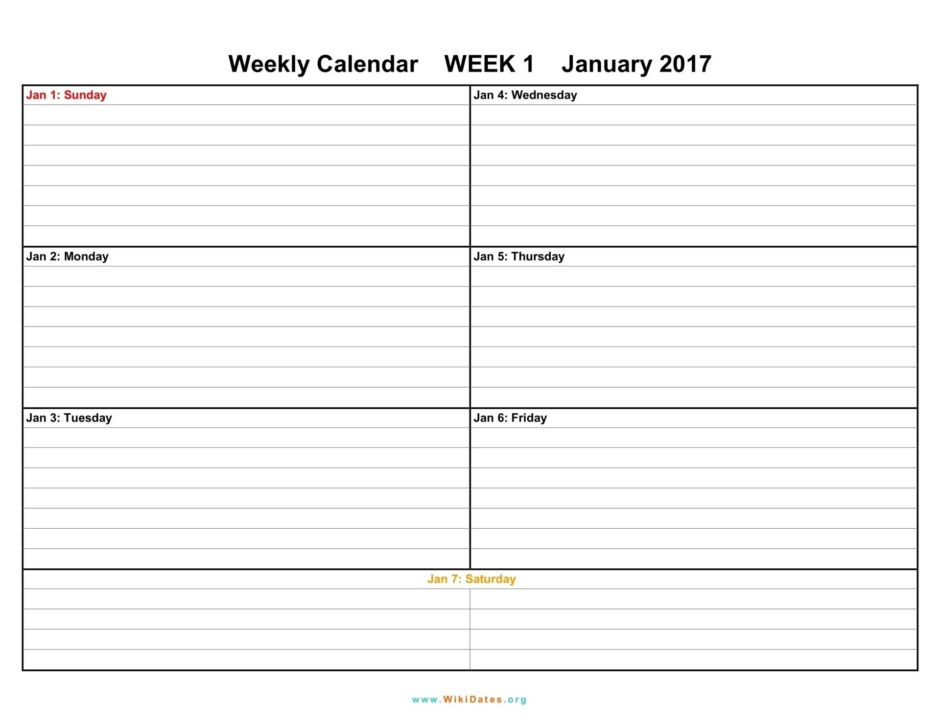 Calendar Template 1 Week – Get Your Calendar Printable