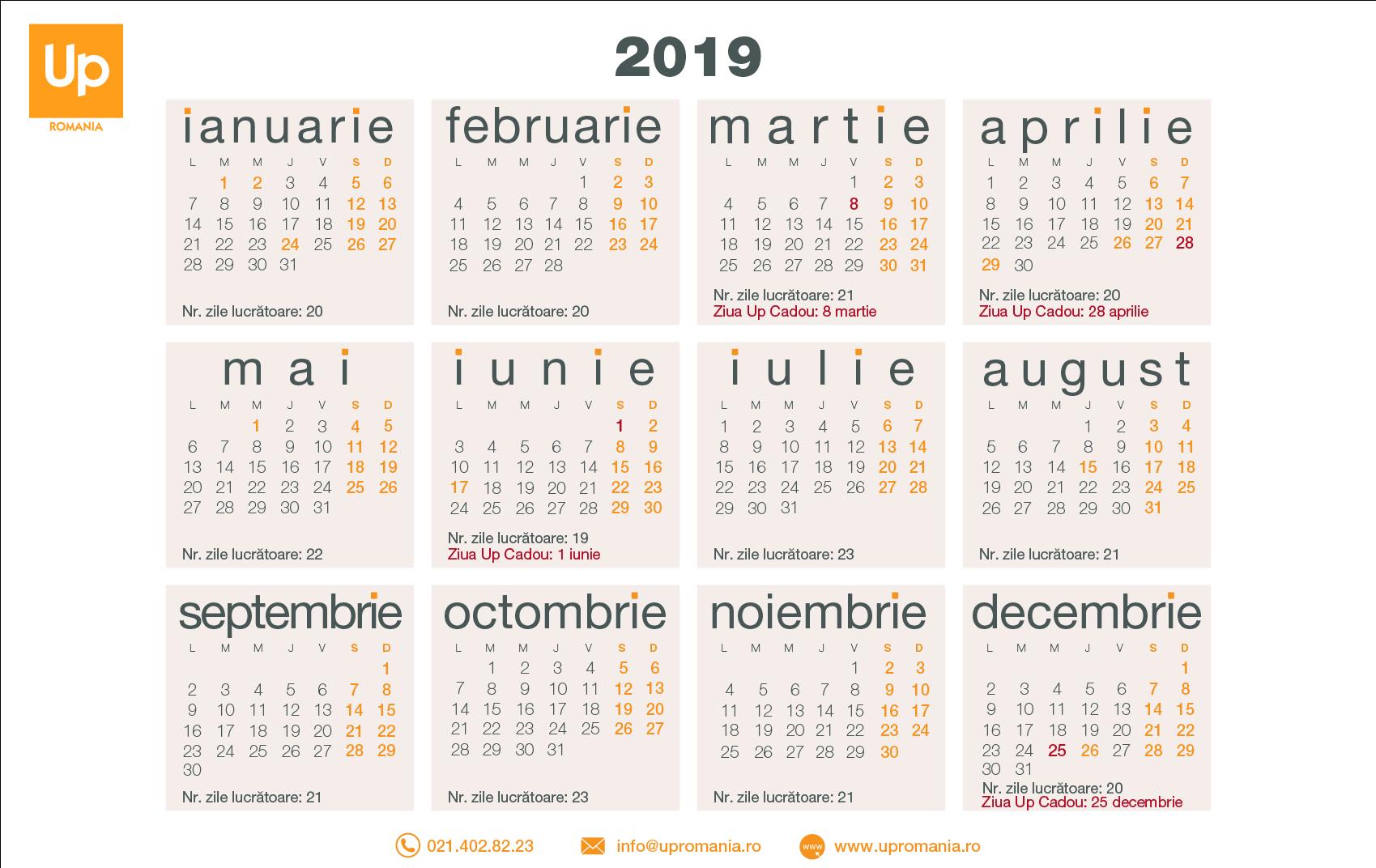 Calendar Zile Lucratoare 2019