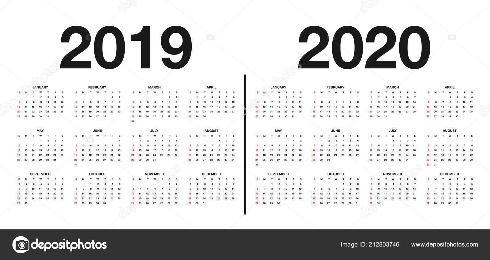 Calendário 2019 2020 Modelo Calendário Design Nas Cores Preto