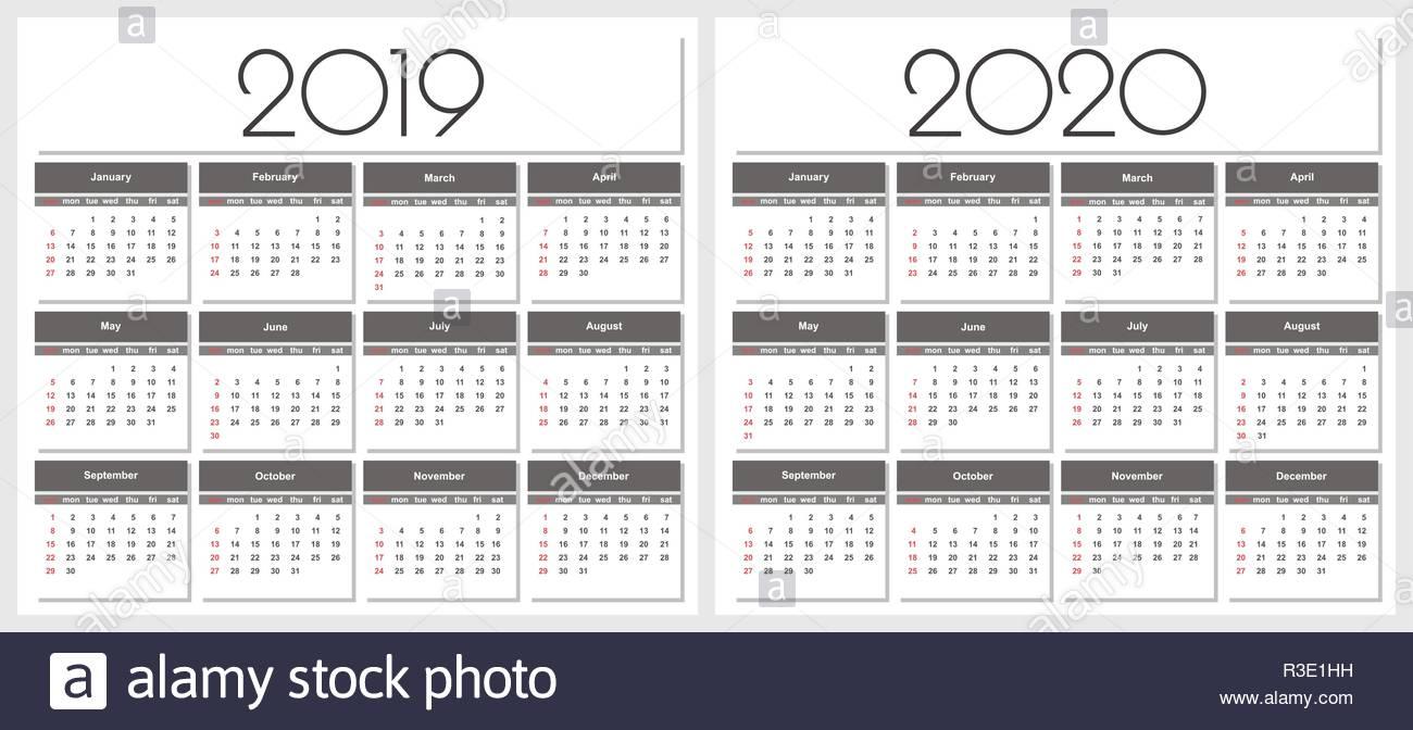 Calendario 2019 E 2020 Anno. Semplice Template Vettoriale. Articoli