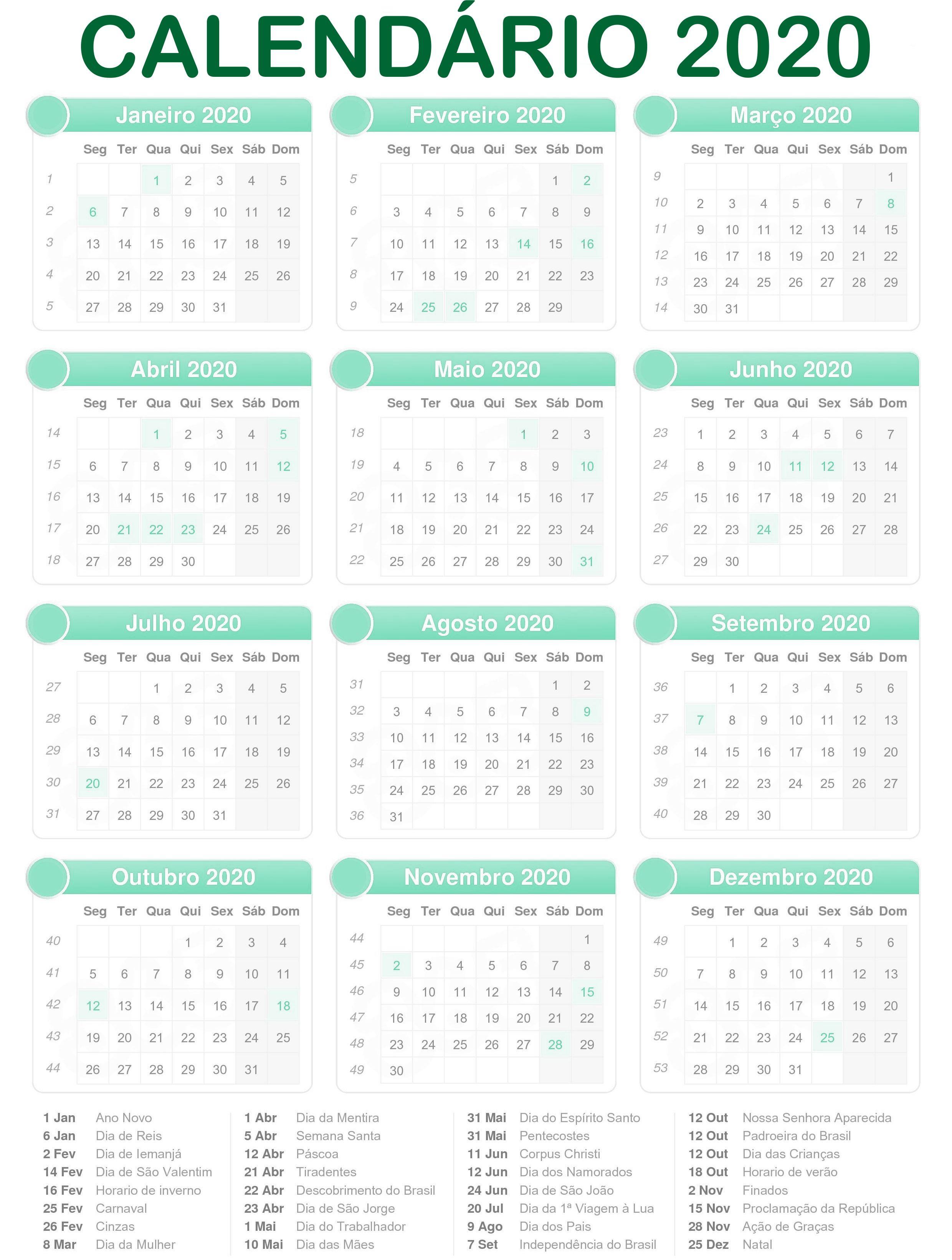 Calendario D 2020