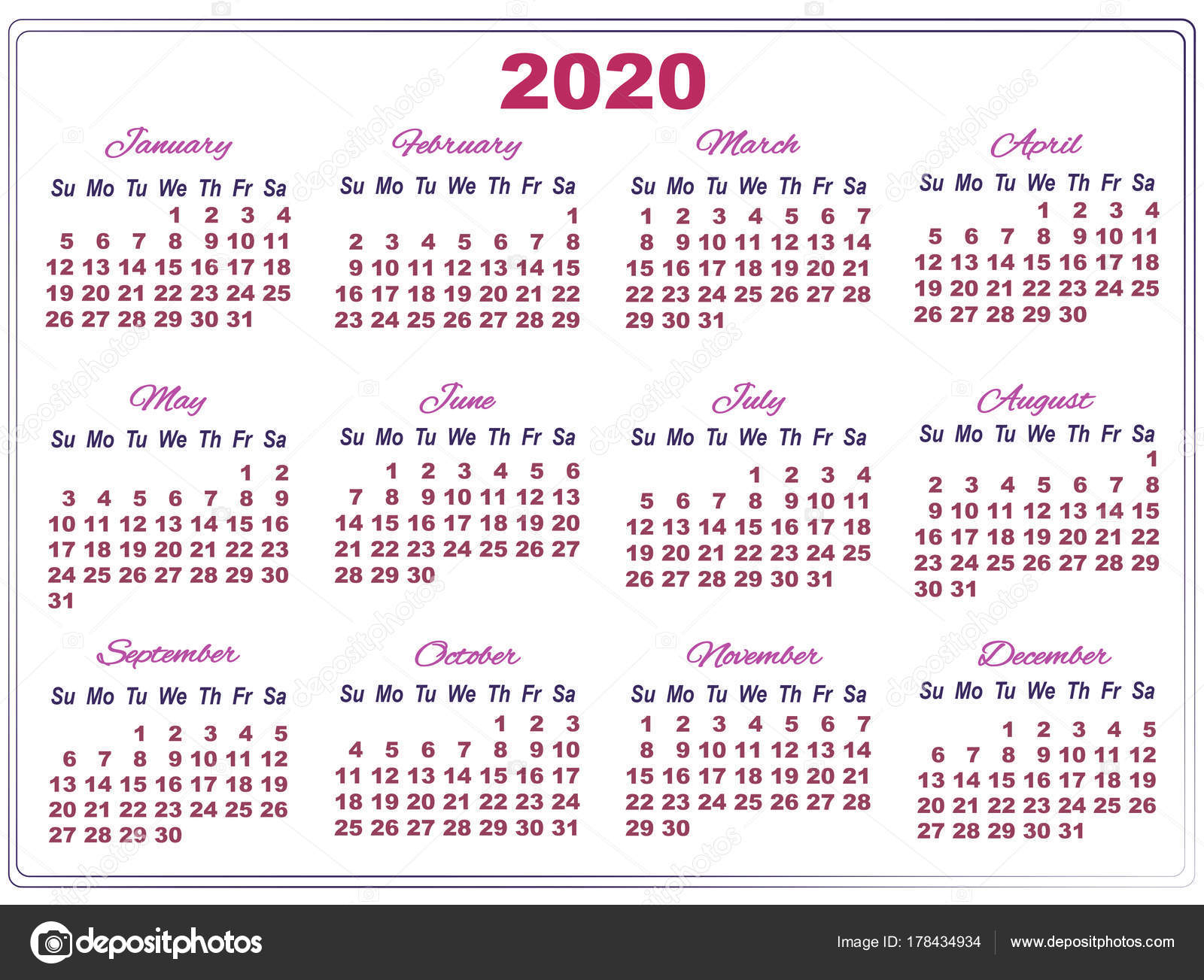 Calendario De 2020