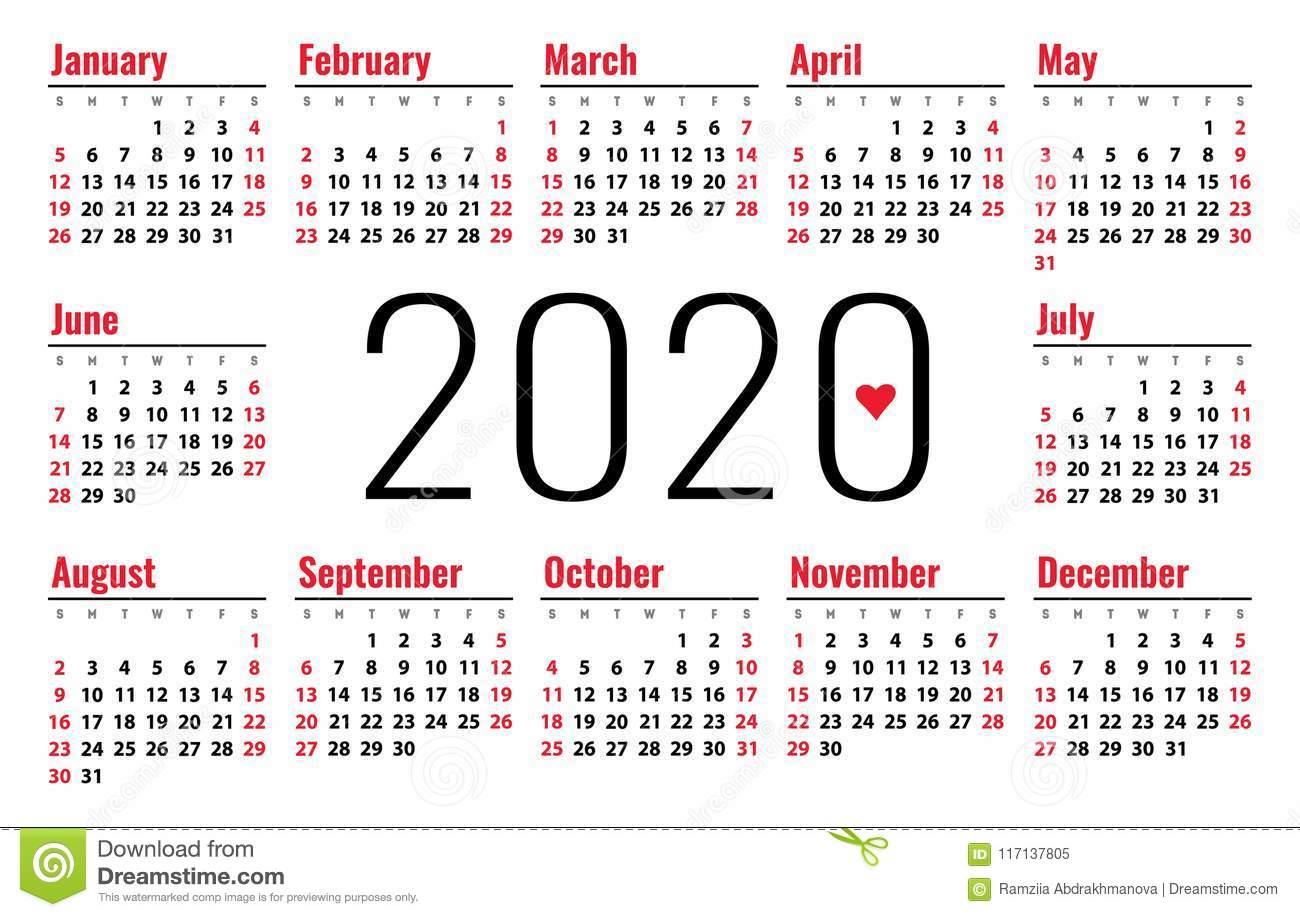 Calendario Del 2020