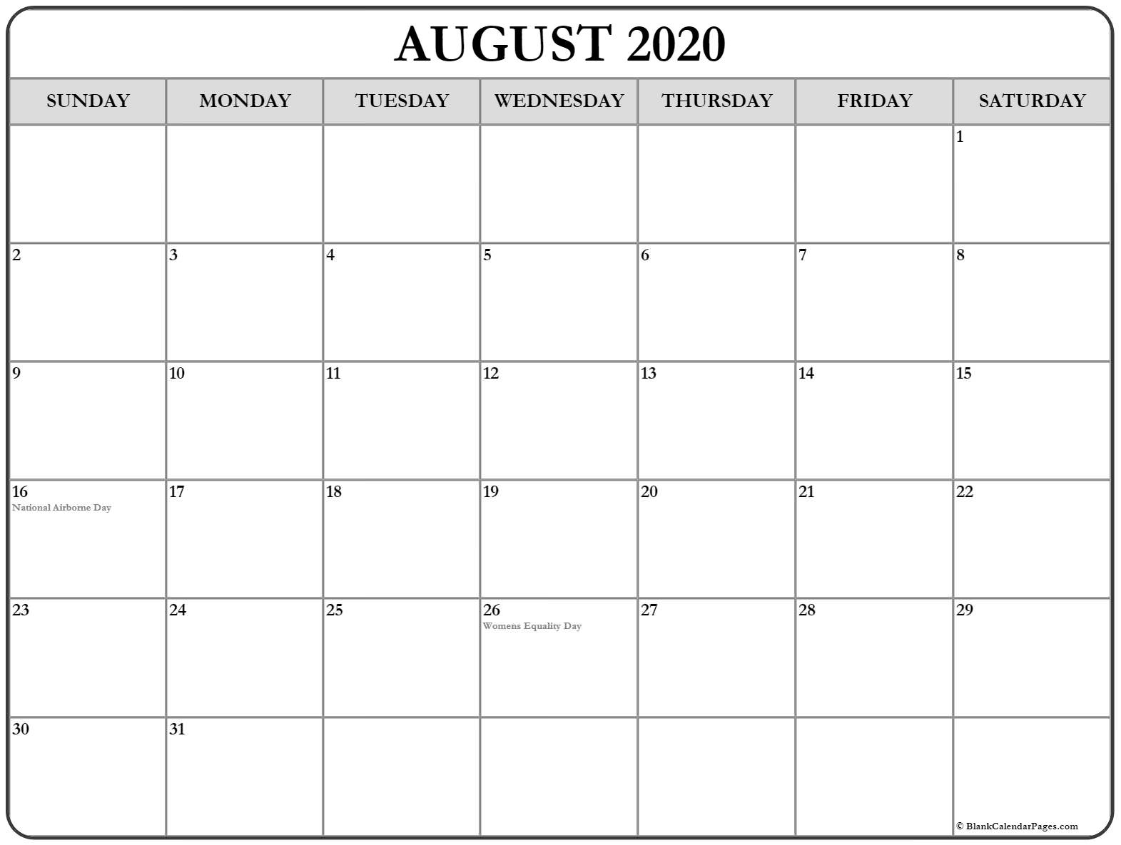 Collection Of August 2020 Calendars With Holidays