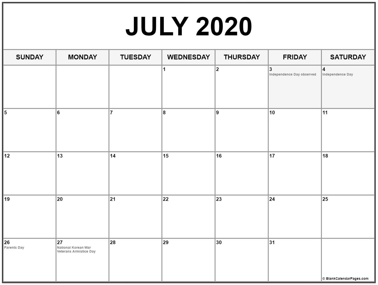 Collection Of July 2020 Calendars With Holidays 2020 Calendar Us