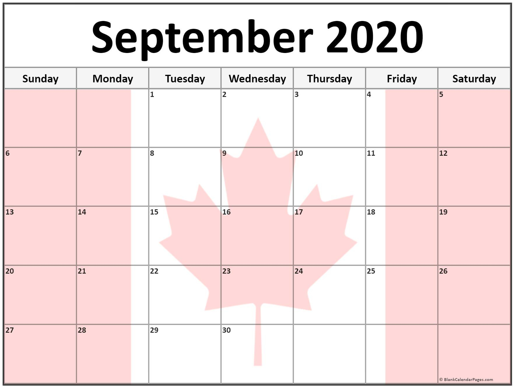Collection Of September 2020 Photo Calendars With Image Filters.