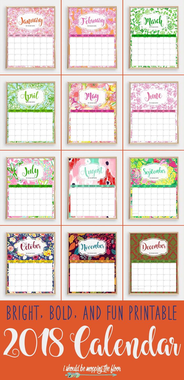 Colorful 2018 Printable Calendar