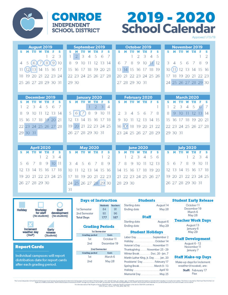Conroe Isd Trustees Approve 19-20 School Calendar - Conroe Isd