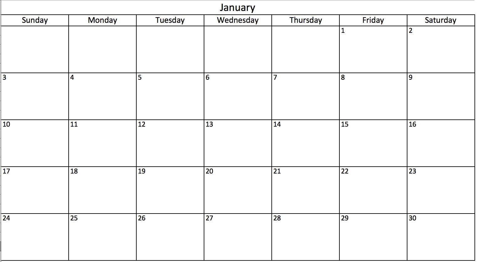 Create A Blank Calendar