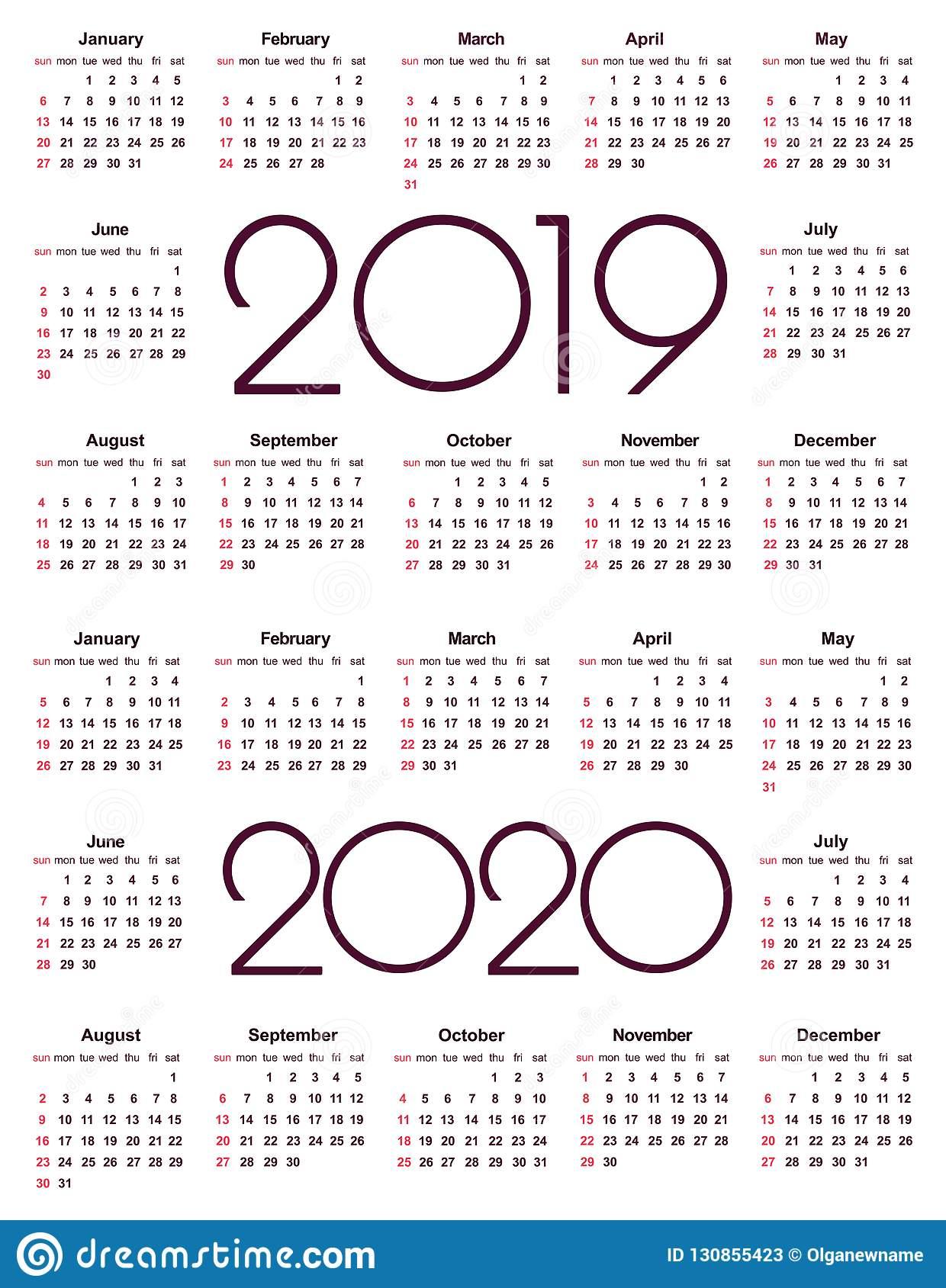 Календарь 2019 И 2020 Год Иллюстрация Вектора. Иллюстрации