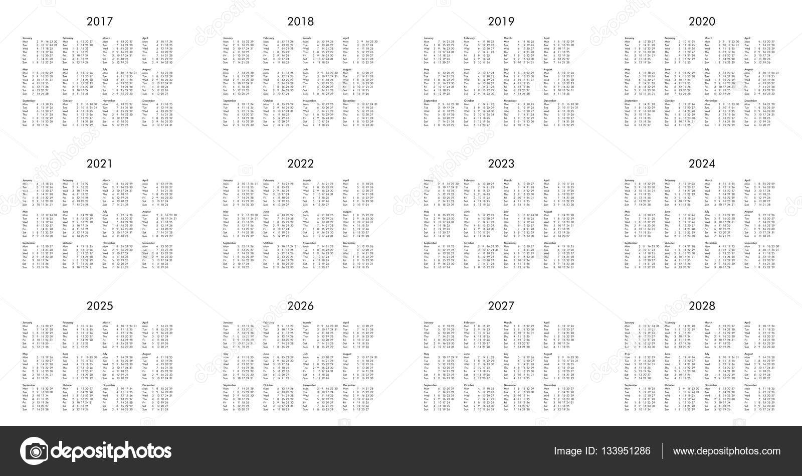 Календарь Год 2017 До 2028 Года — Стоковое Фото © Claudiodivizia