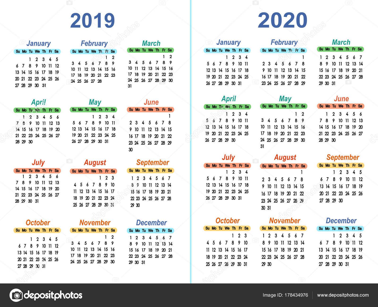 Шаблон Вектор Календари 2019-2020 — Векторное Изображение