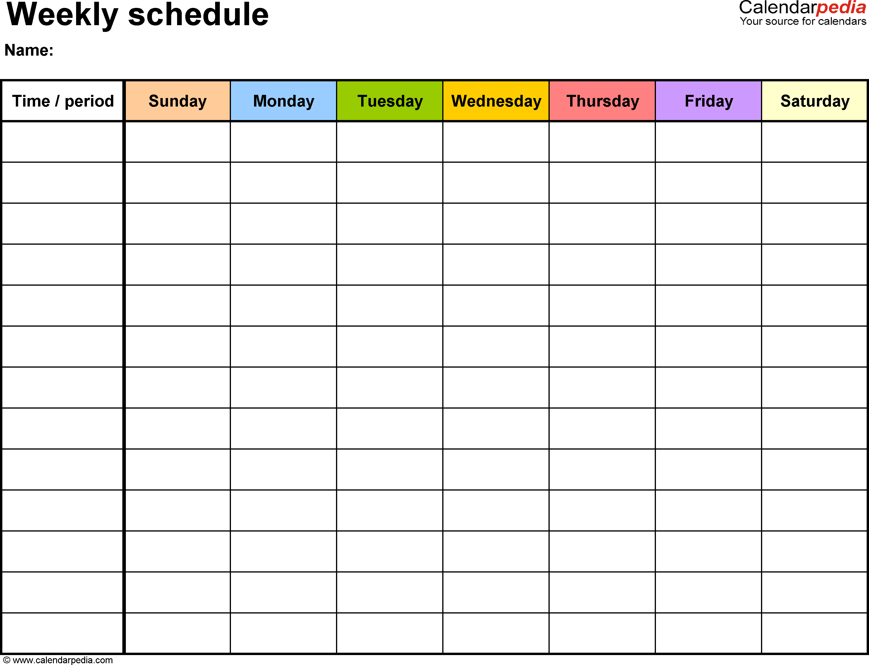 Daily Schedule Calendar Template