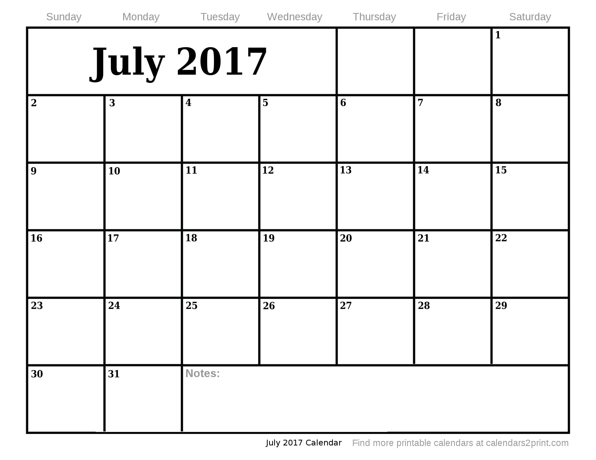 Dashing Blank Calendar July 17 • Printable Blank Calendar Template