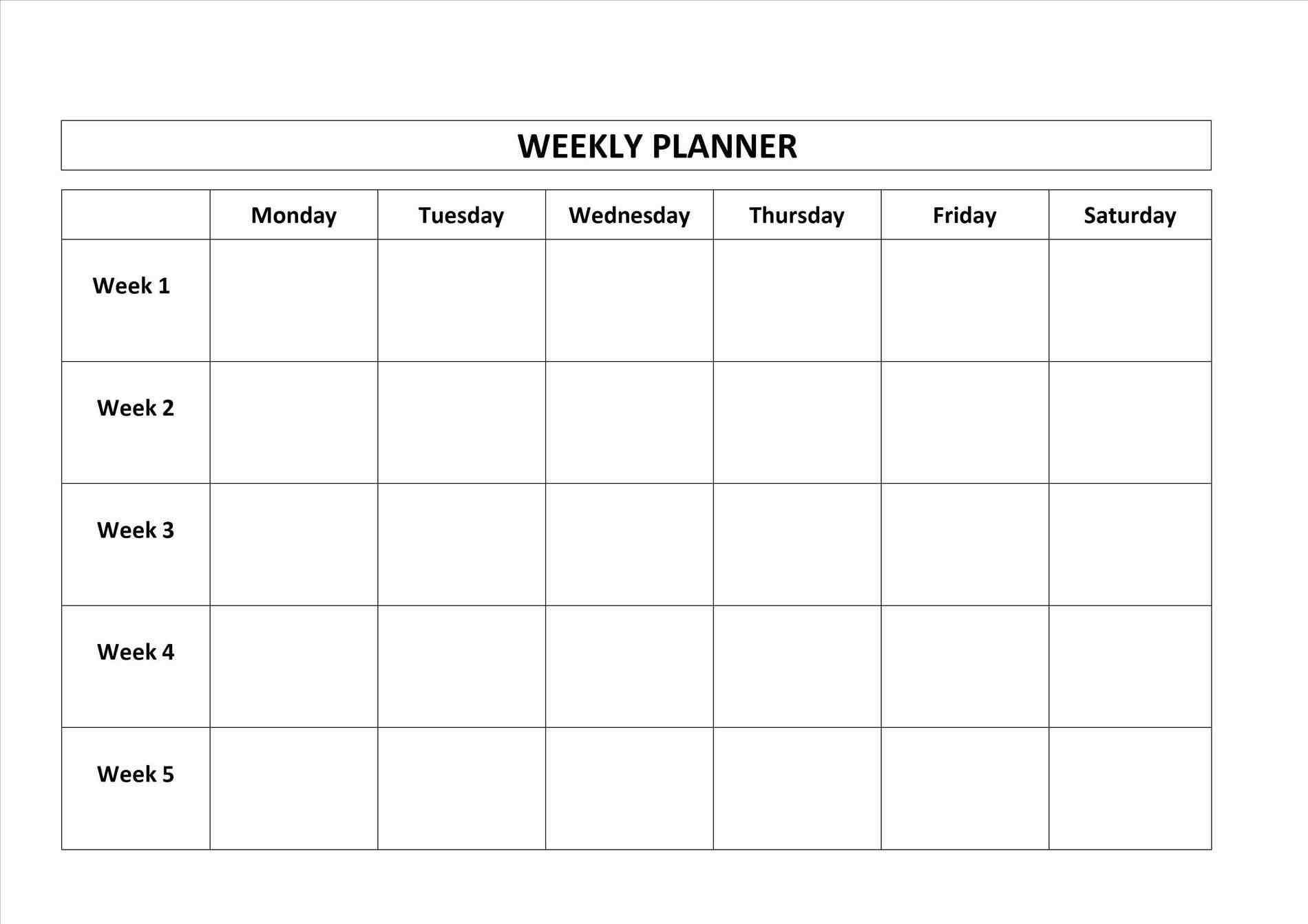 Dashing Blank Calendar Monday Through Sunday • Printable Blank