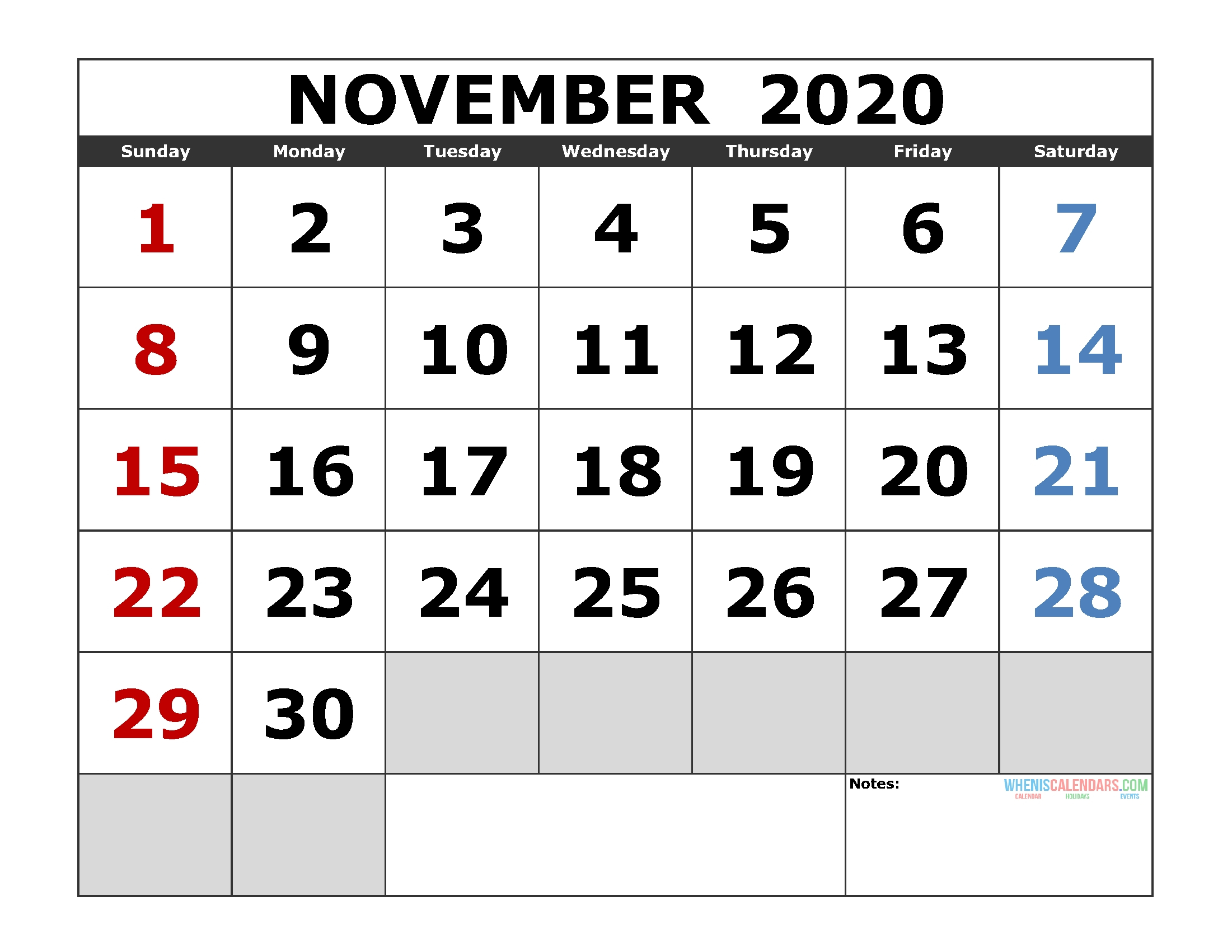 Dashing November 3 2020 Calendar • Printable Blank Calendar Template