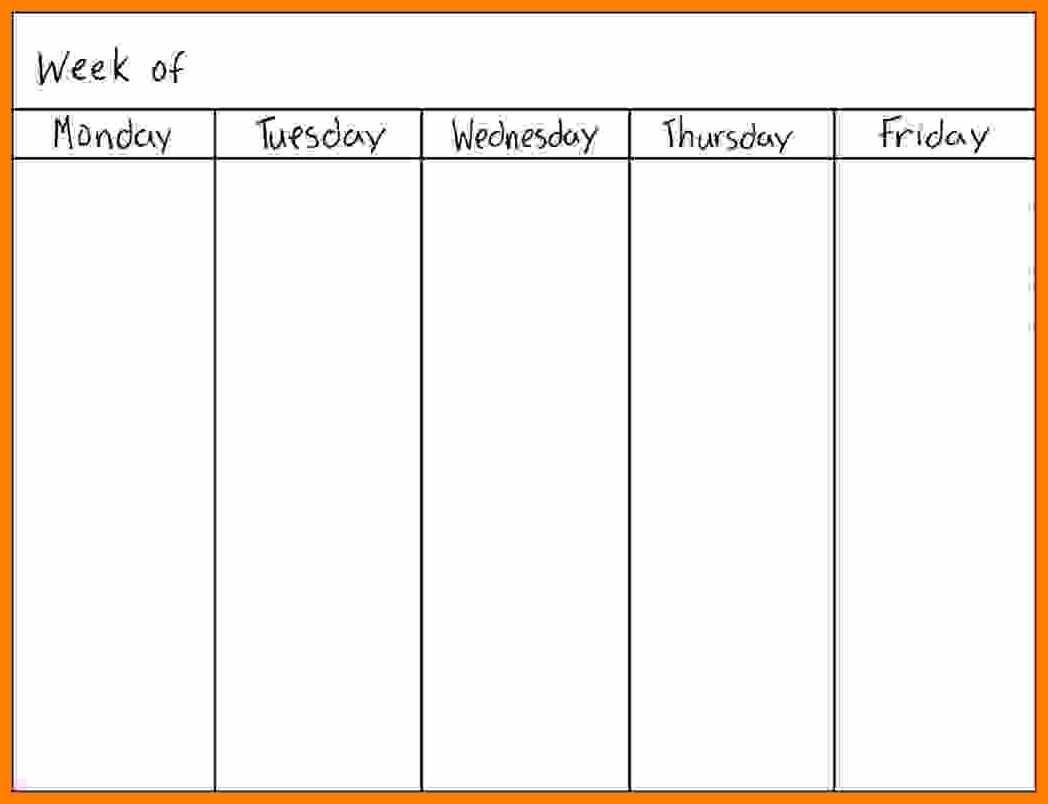 Day Of The Week Calendar Free Blank 5 Day Weekly Calendar 2018