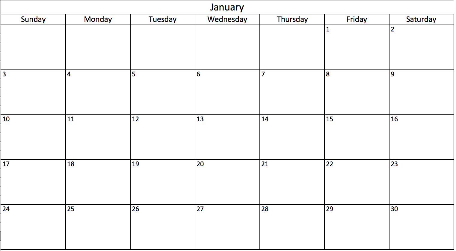 Days Of The Week Calendar Printable Make In Excel Includes Free