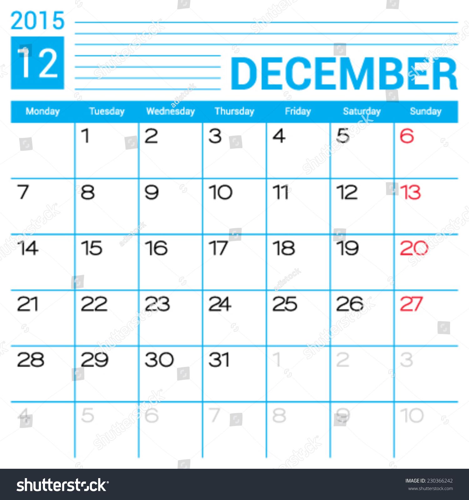 December 2015 Calendar Vector Design Template Stock Vector (Royalty