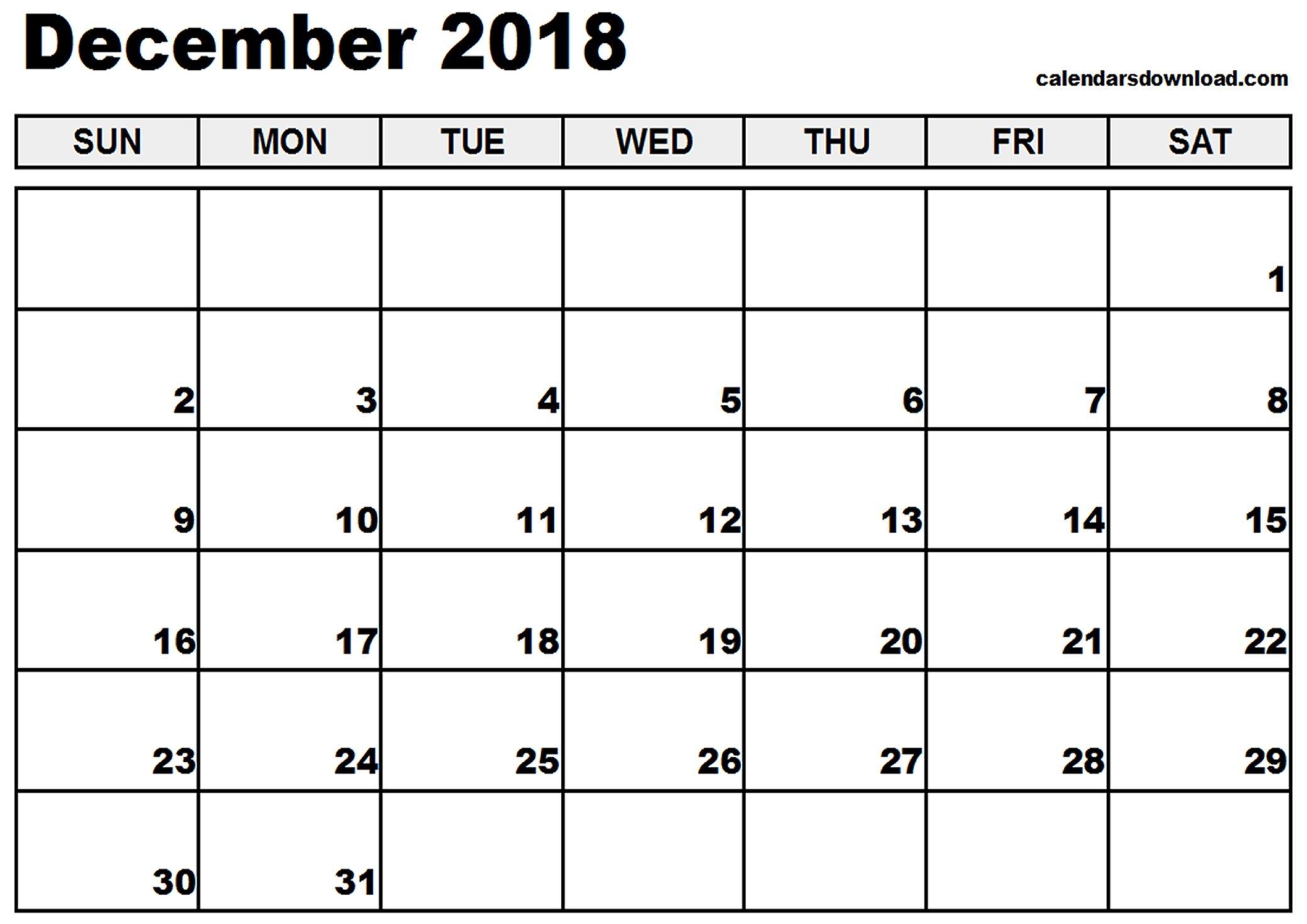 December 2018 Calendar Canada Pdf - Printable Calendar 2019