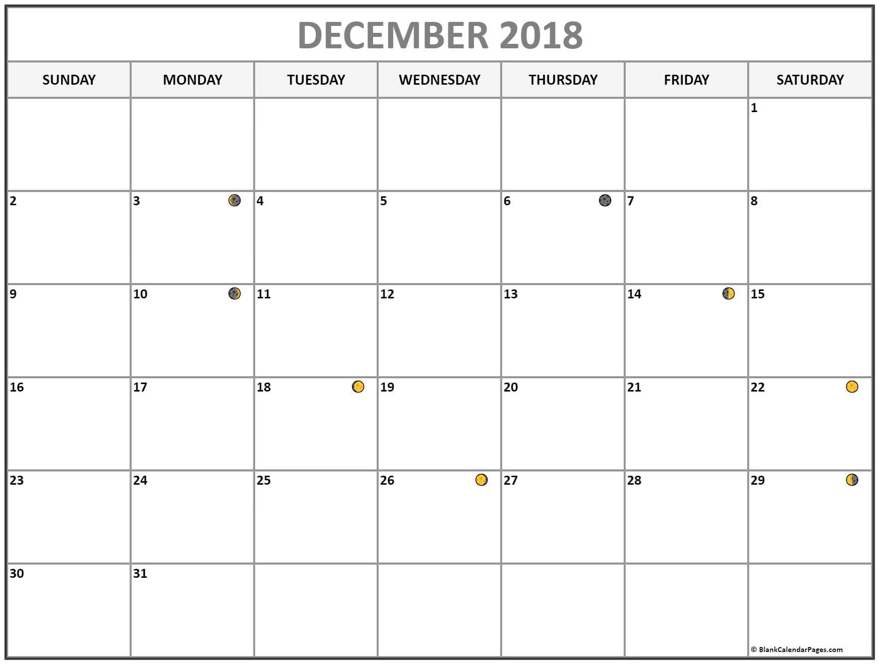 December 2018 Calendar Moon Phases