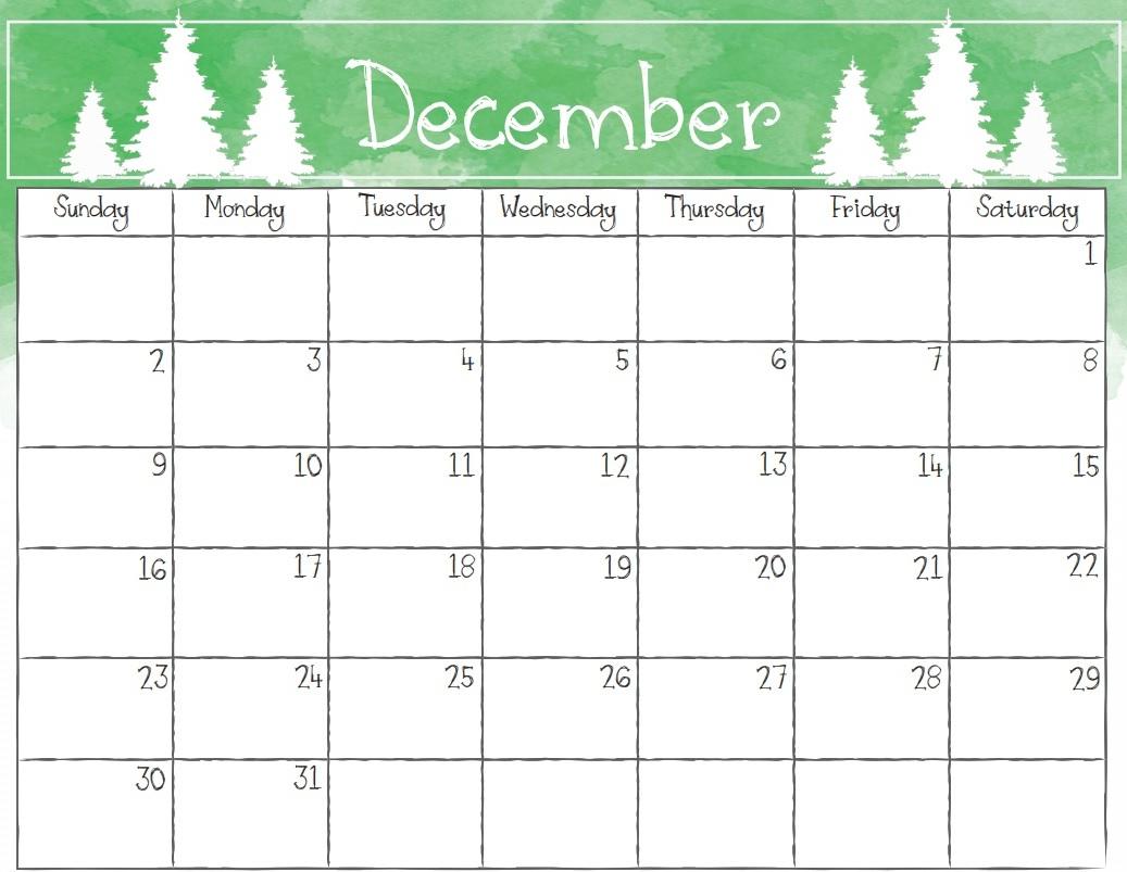 December 2018 Calendar Page - Free Printable Calendar, Blank