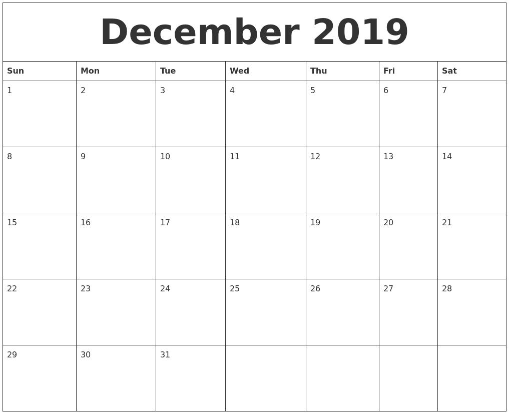 December 2019 Blank Calendar To Print