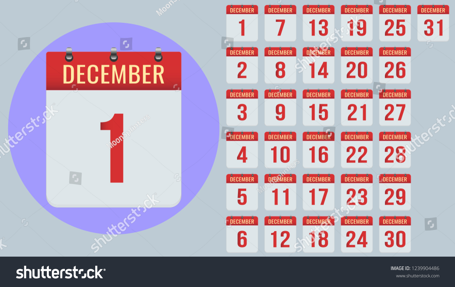 December Flat Daily Calendar Icon Set Stock Vector (Royalty Free