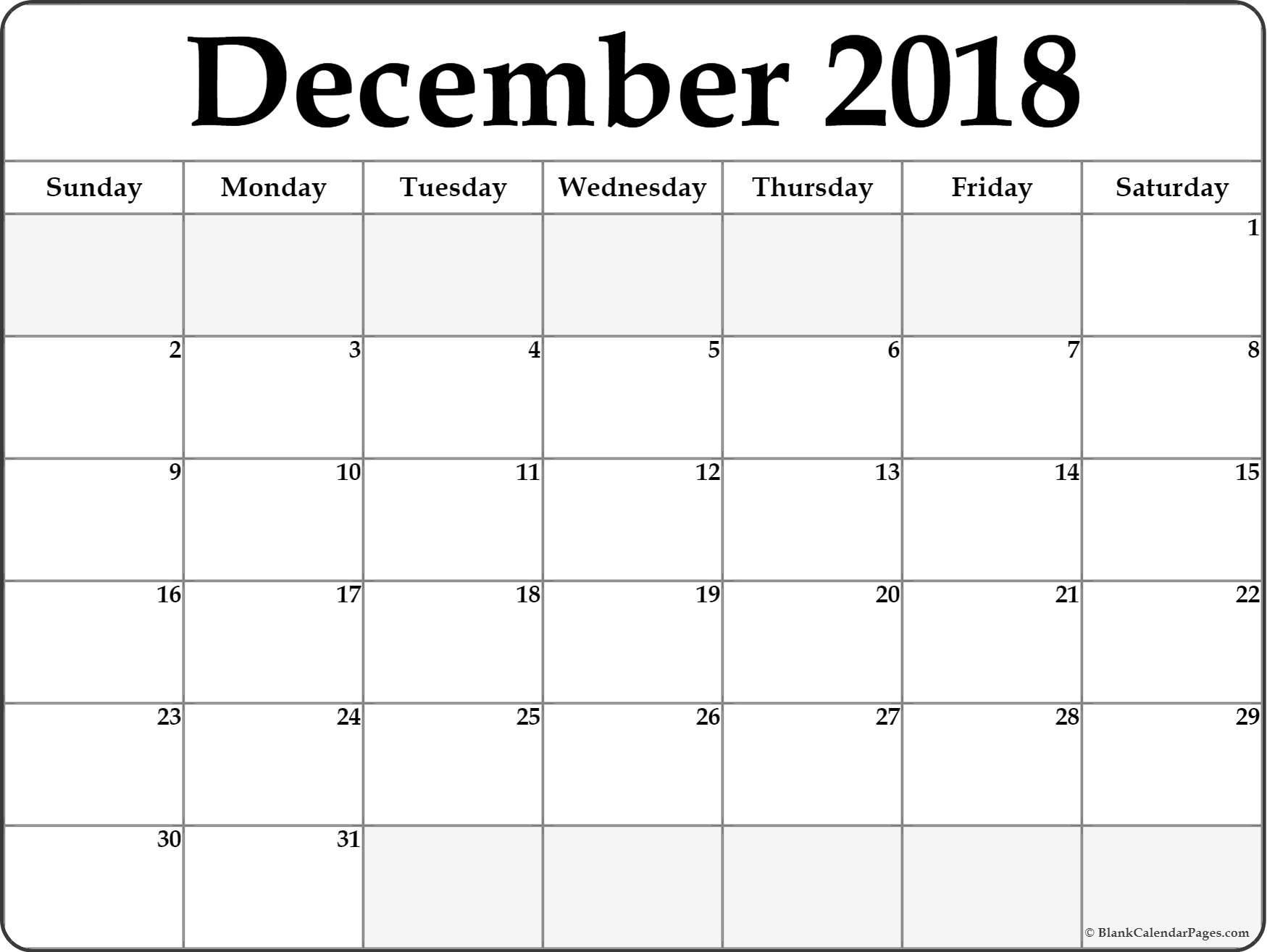 December Free Printable Calendar